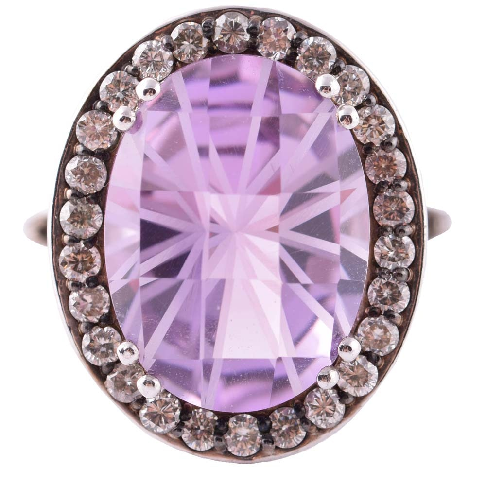 Sterling Silver, 8.85 CT Amethyst and Diamond Halo Ring