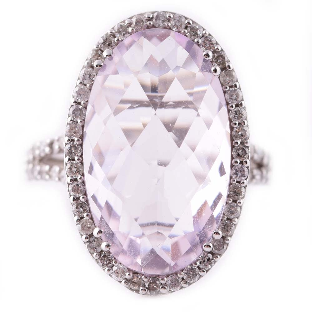 Sterling Silver 9.26 CT Amethyst and Diamond Halo Ring