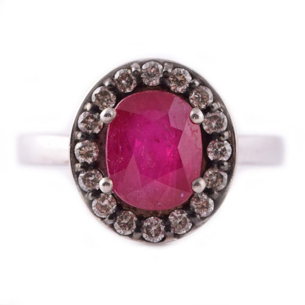 Sterling Silver 2.32 CT Ruby and Diamond Halo Ring