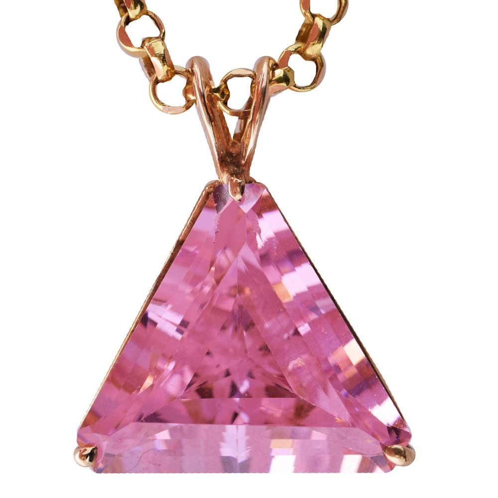 10K Yellow Gold and Pink Cubic Zirconia Pendant on 14K Yellow Gold Chain