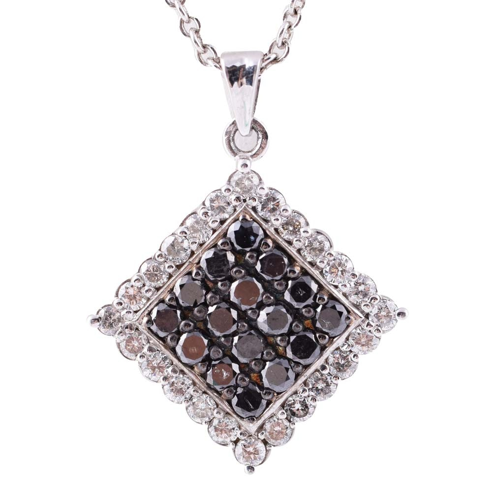 Sterling Silver and 1.27 CTW Diamond Cluster Pendant Necklace