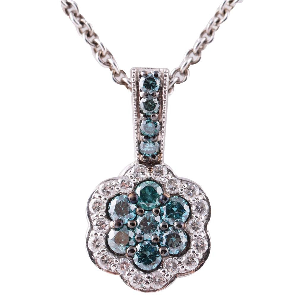 Sterling Silver and Diamond Flower Pendant Necklace