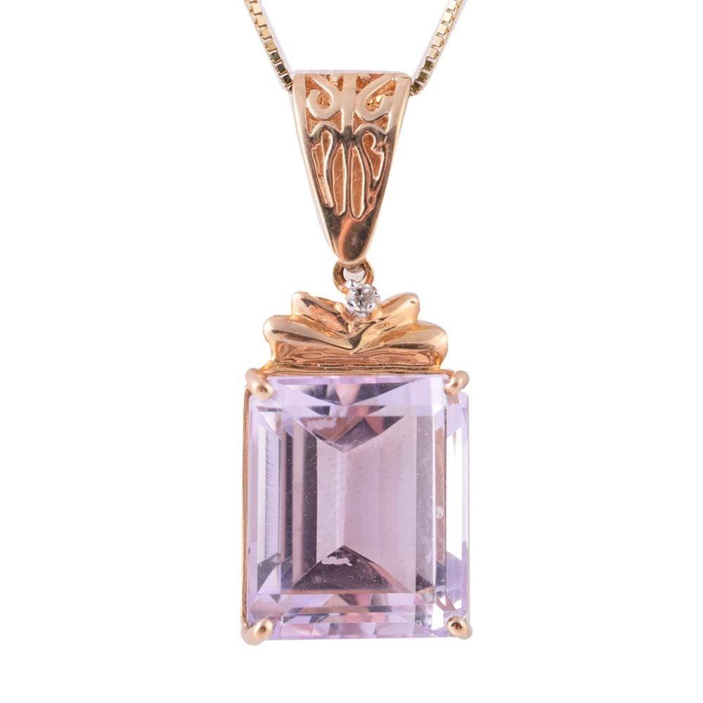 10K Yellow Gold, 6.00 CT Amethyst, and Diamond Pendant Necklace