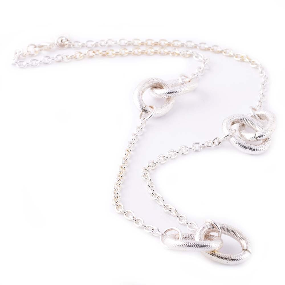 Plated Silver Oval and Round Textured Link Necklace