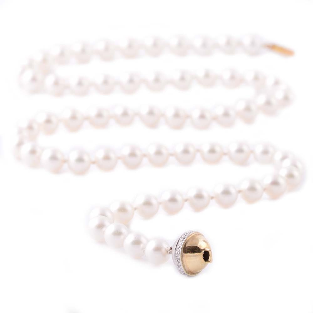 14K Yellow Gold and Cultured Pearl Strand with Diamond Ball Clasp