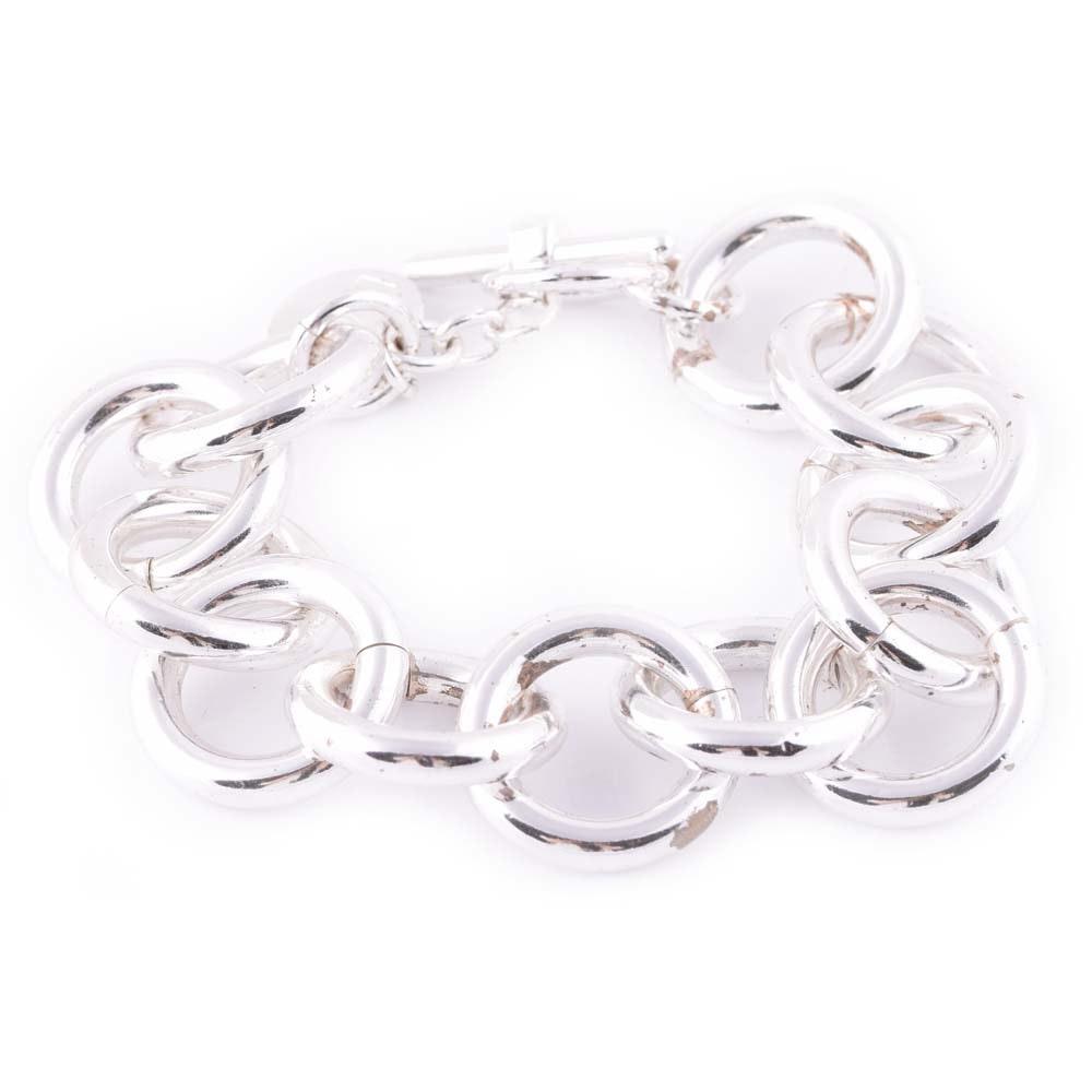 Plated Silver Round Link Bracelet