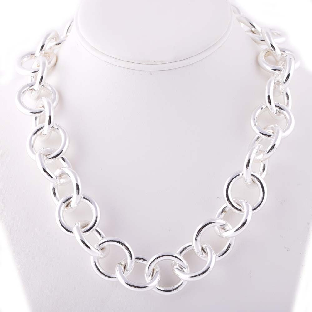 Plated Silver Large Circle Link Necklace