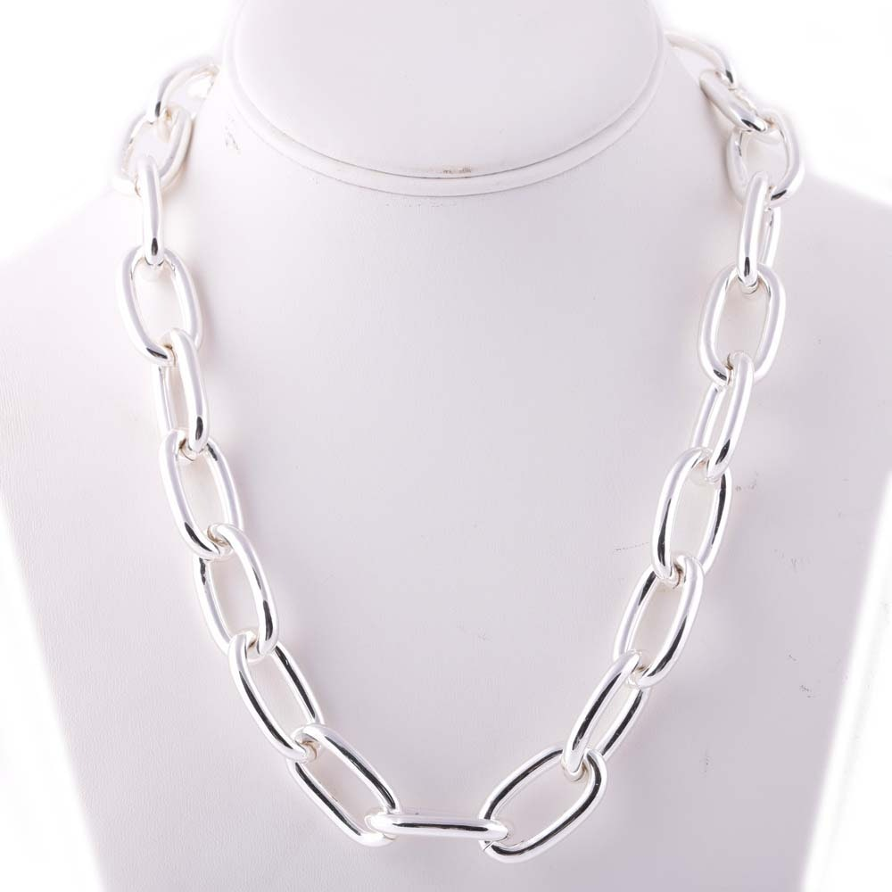 Plated Silver Oval Link Necklace