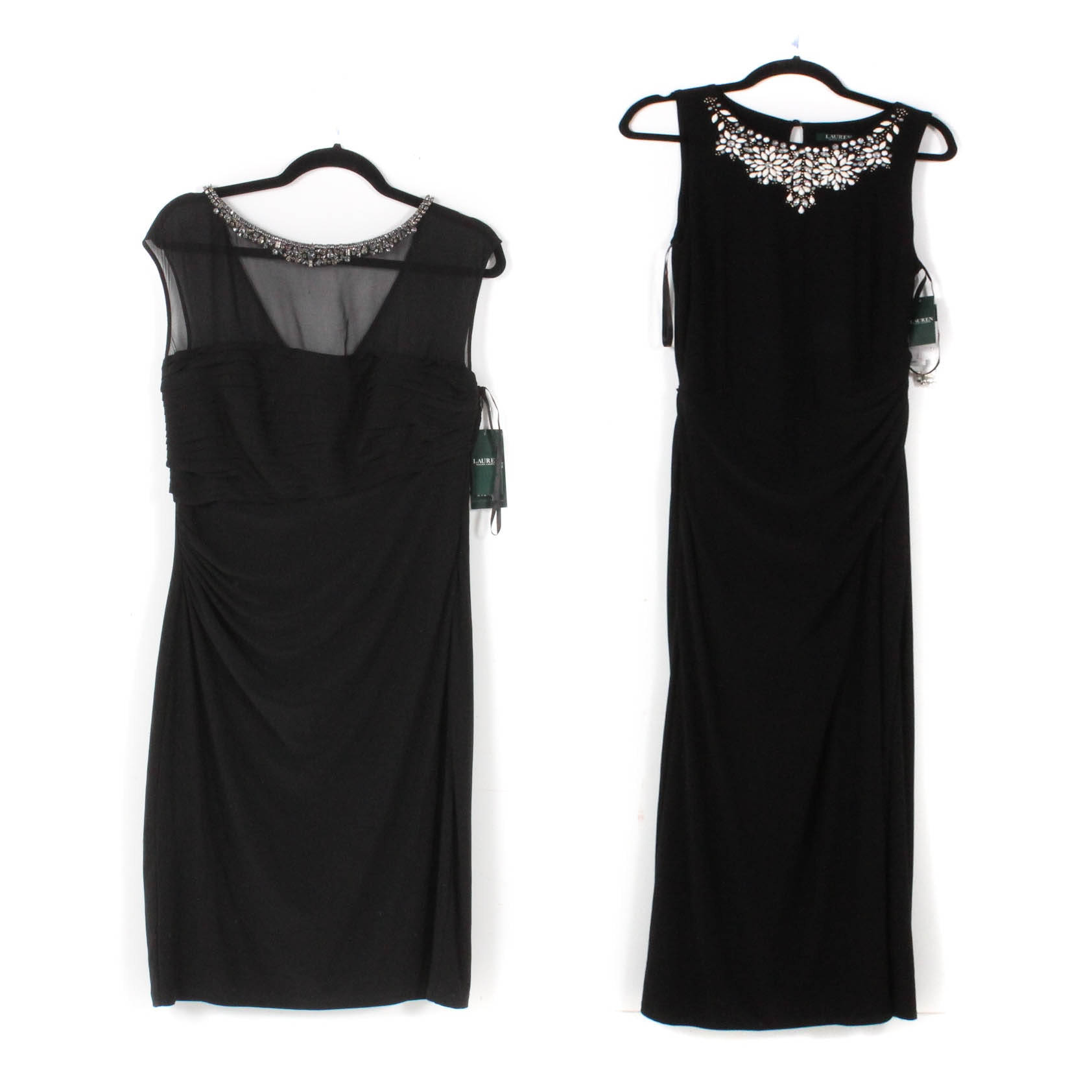 Ralph Lauren Embellished Black Sleeveless Evening Dresses