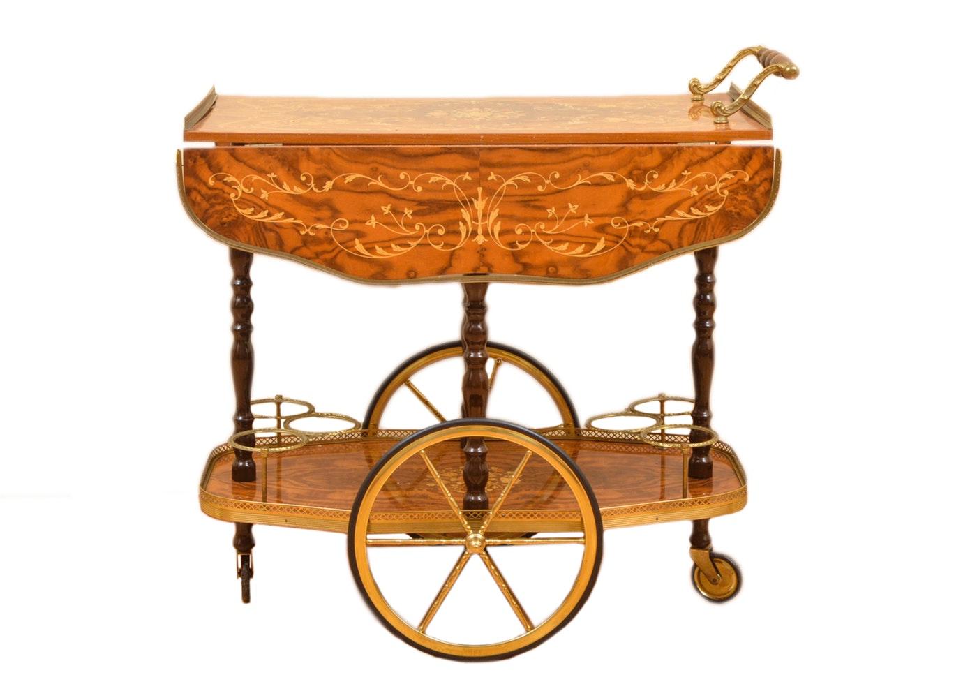 Vintage Italian Burl Veneered and Inlaid Bar Cart