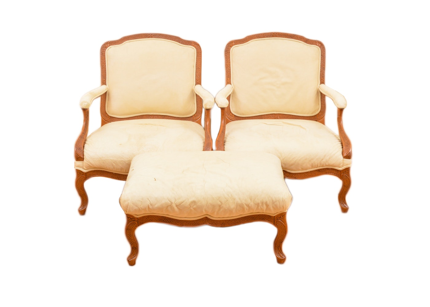 Pair of Vintage Louis XV Style Armchairs with Ottoman
