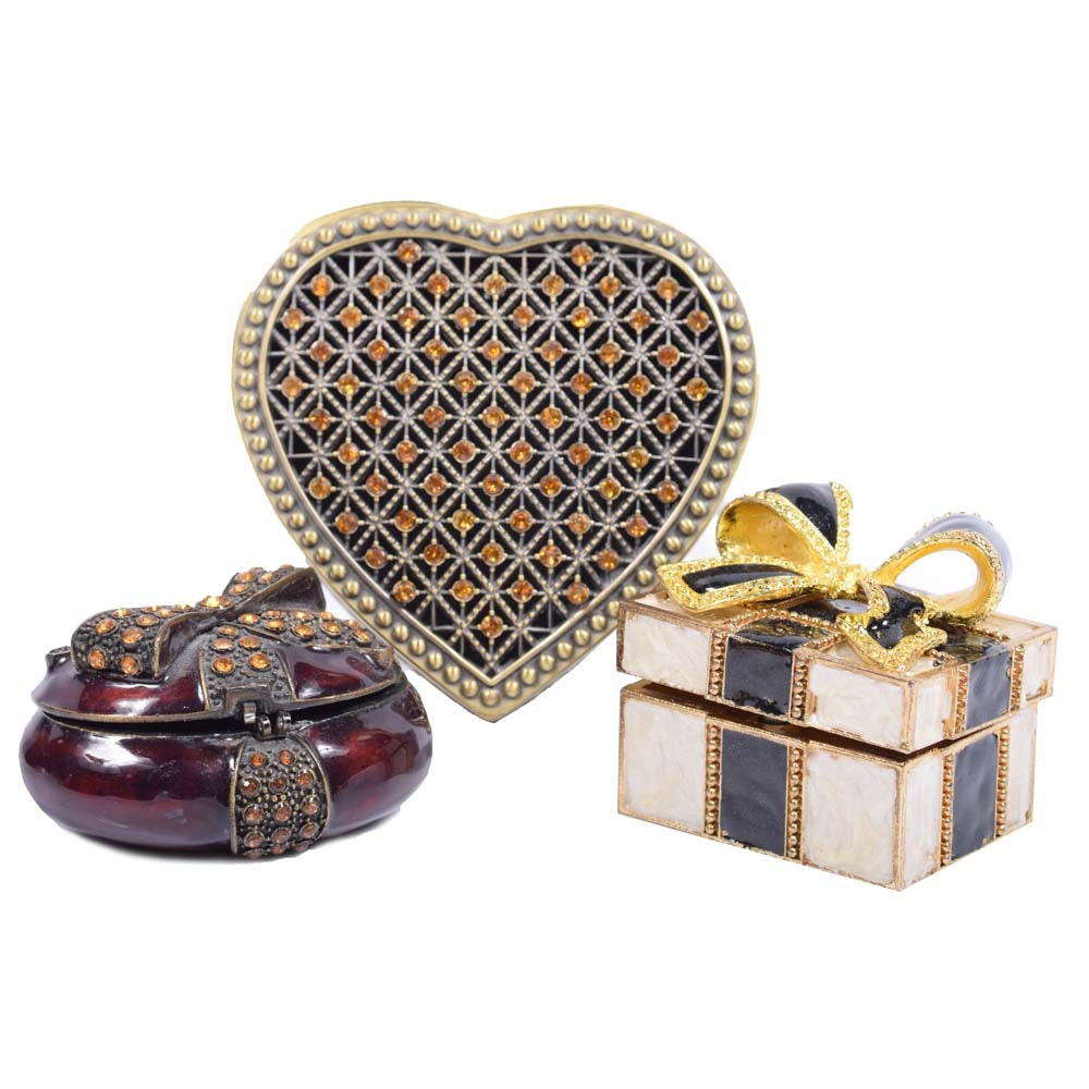 Enameled and Brass Miniature Trinket Boxes