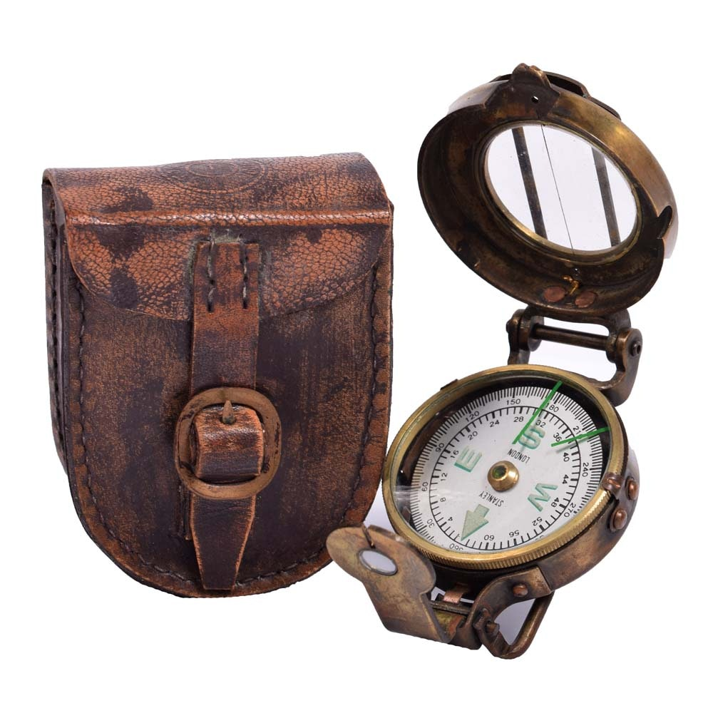 Stanley London Brass Compass and Case