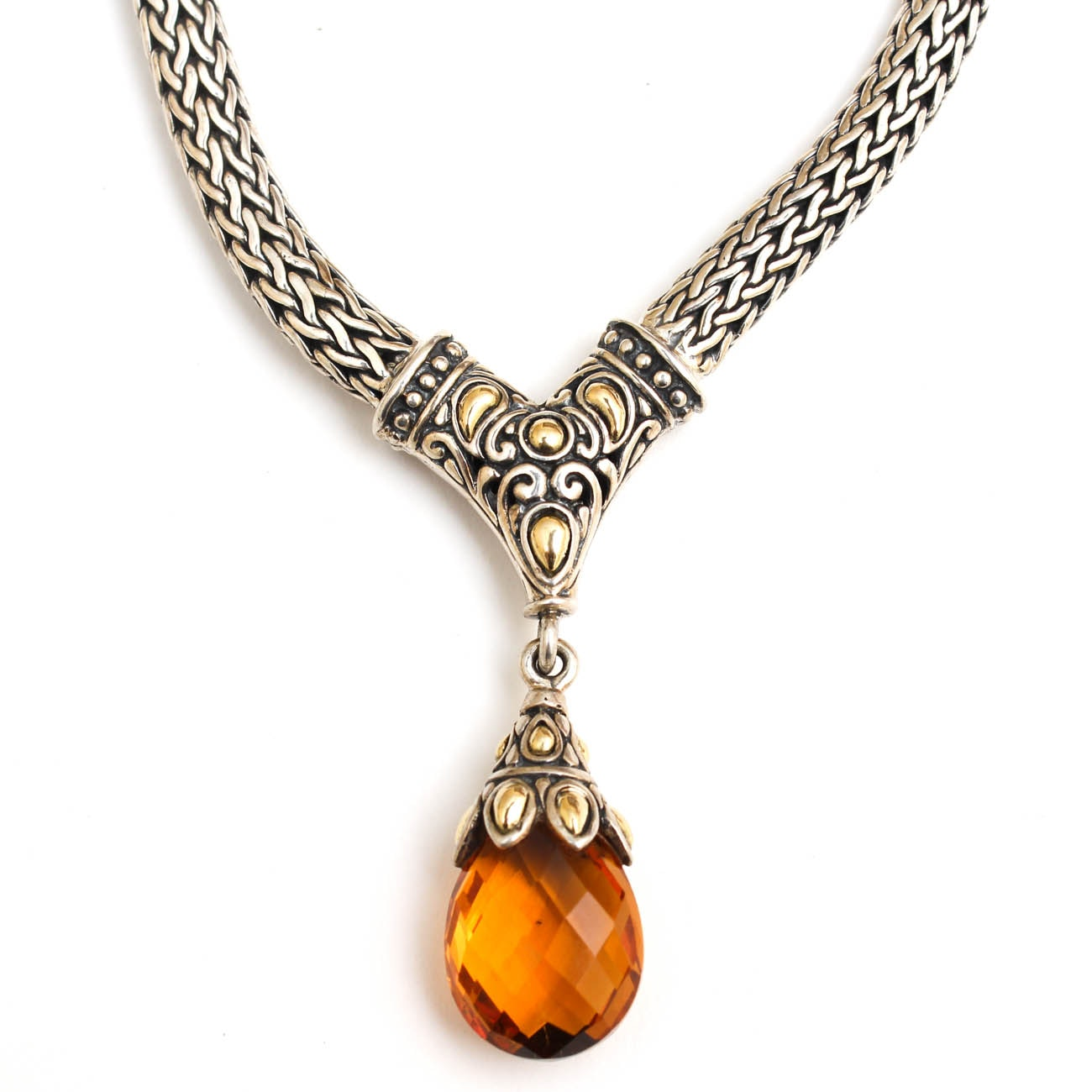 Samuel Benham Sterling Silver and 18K Yellow Gold Citrine Necklace