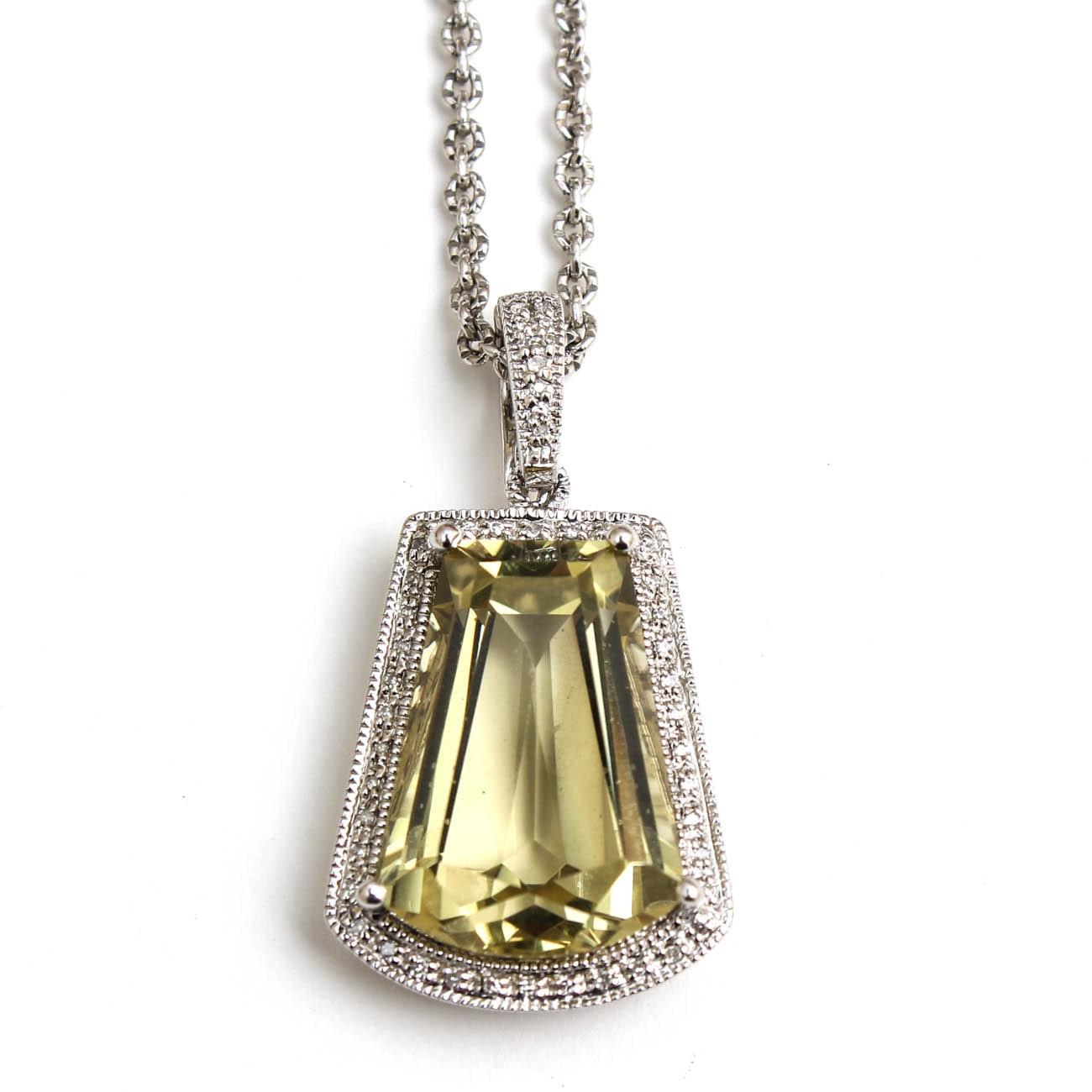 Sterling Silver 16.00 CT Lemon Citrine and Diamond Pendant Necklace