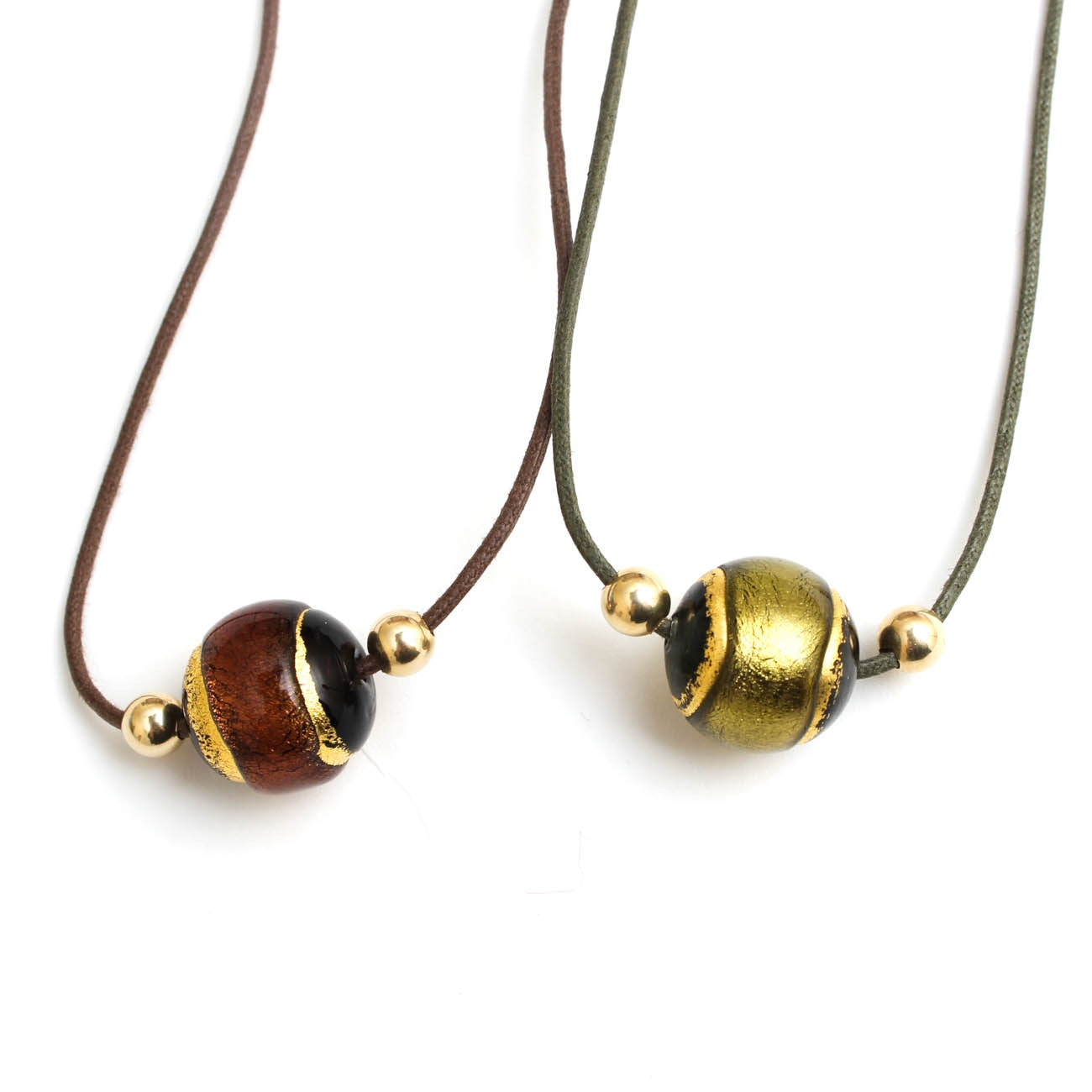 14K Yellow Gold and Glass Bead Necklaces