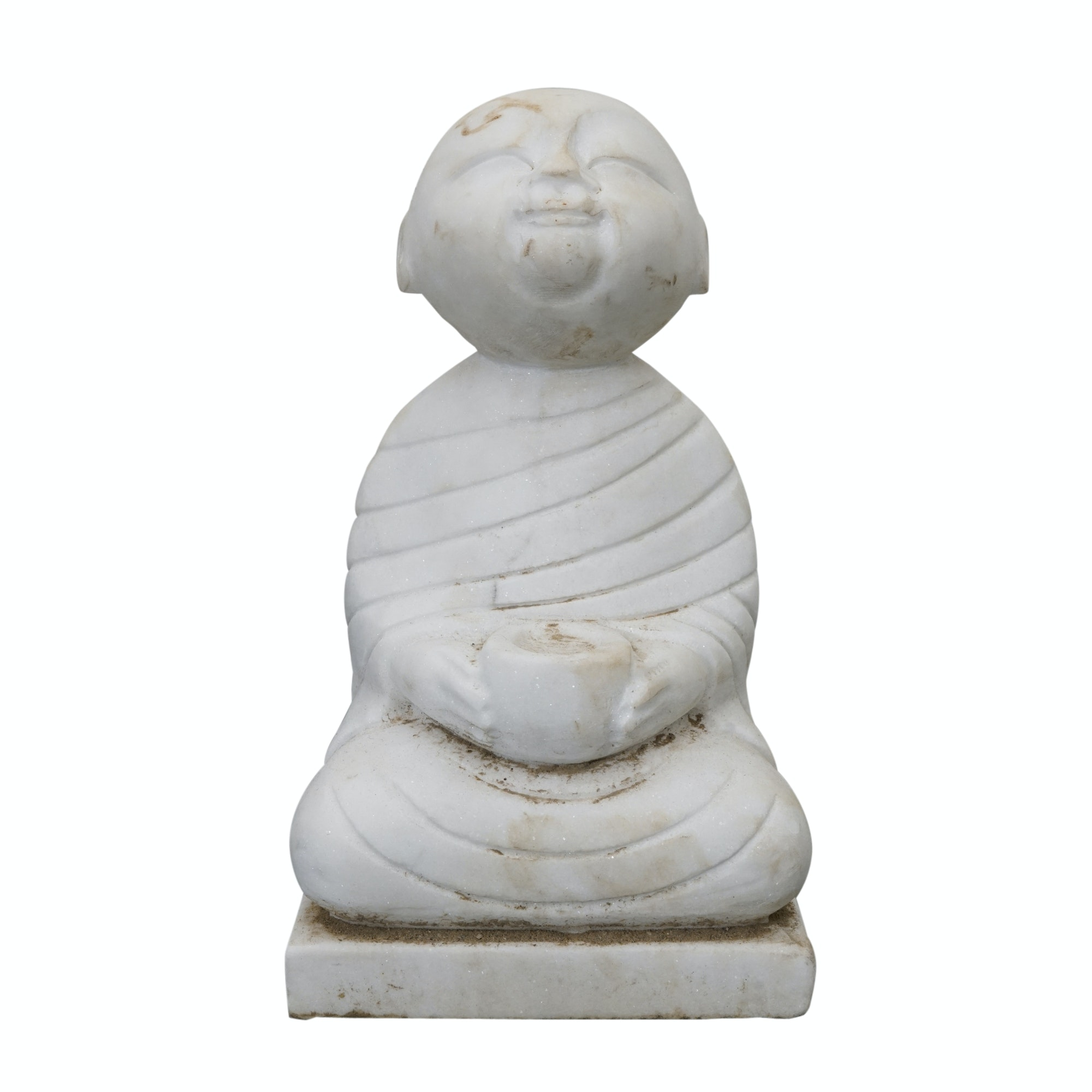 Southeast Asian Inspired Carved Stone Monk Figure