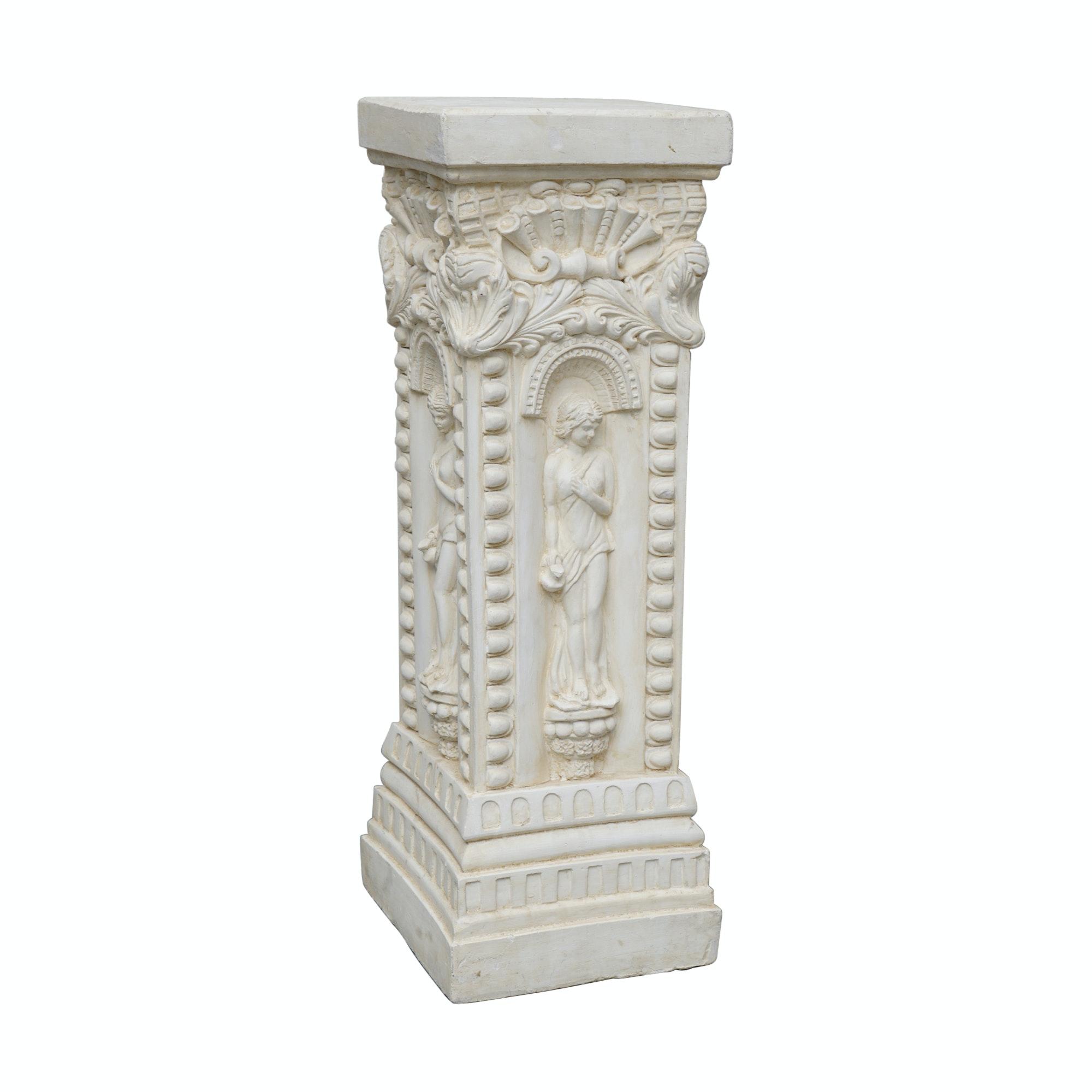 Neoclassical Style White Ceramic Pedestal