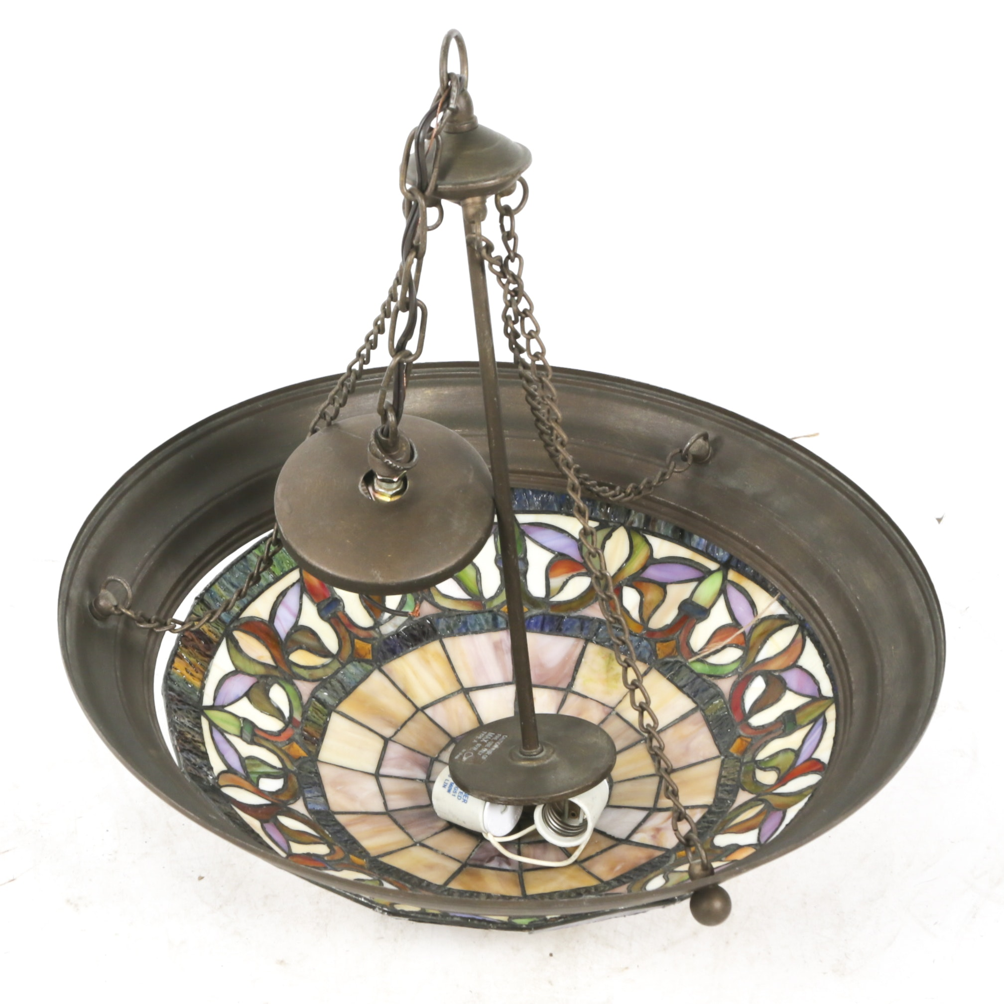 Stained Glass and Brass Tone Hanging Ceiling LIght