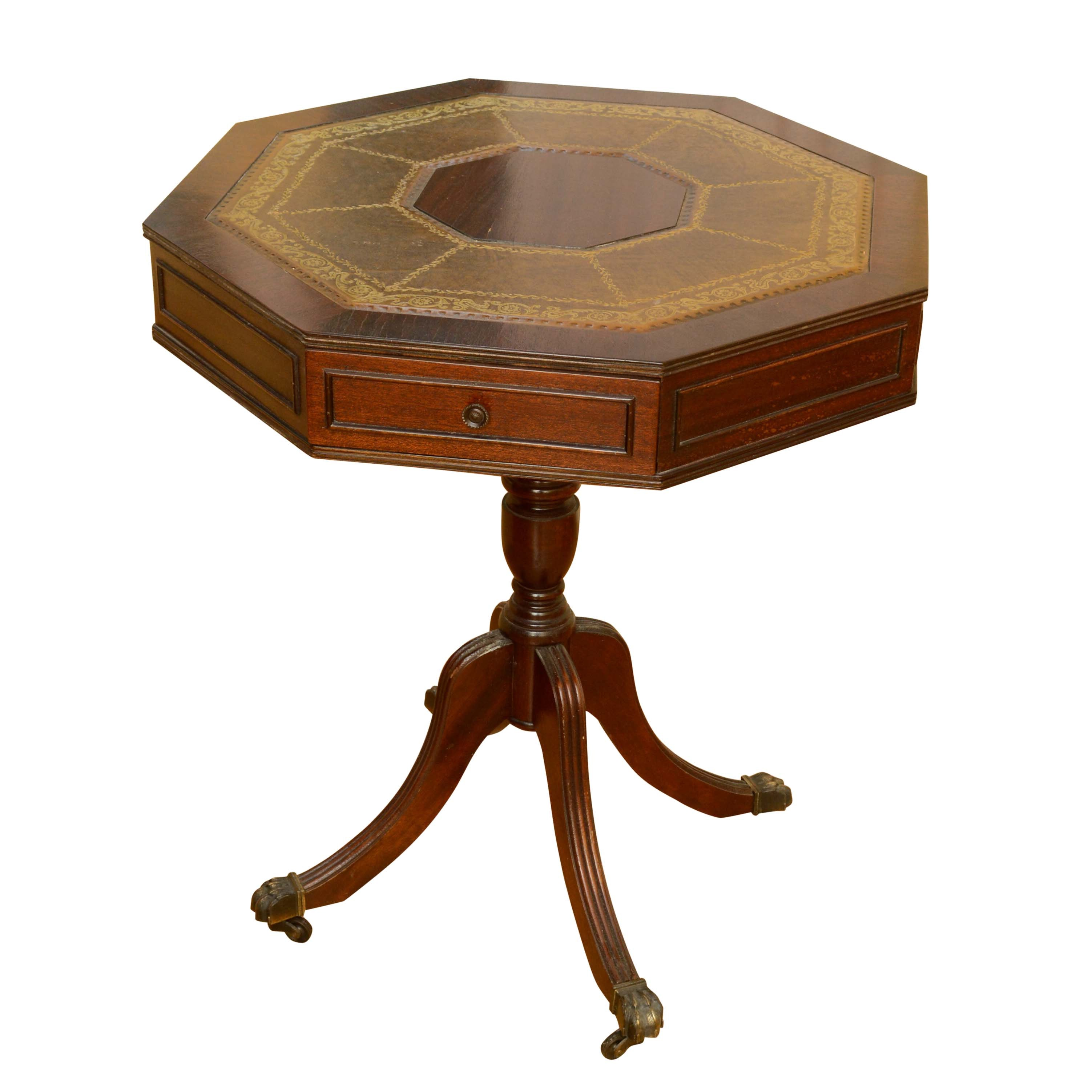 Early to Mid 20th Century Leather-Top Mahogany Octagonal Side Table
