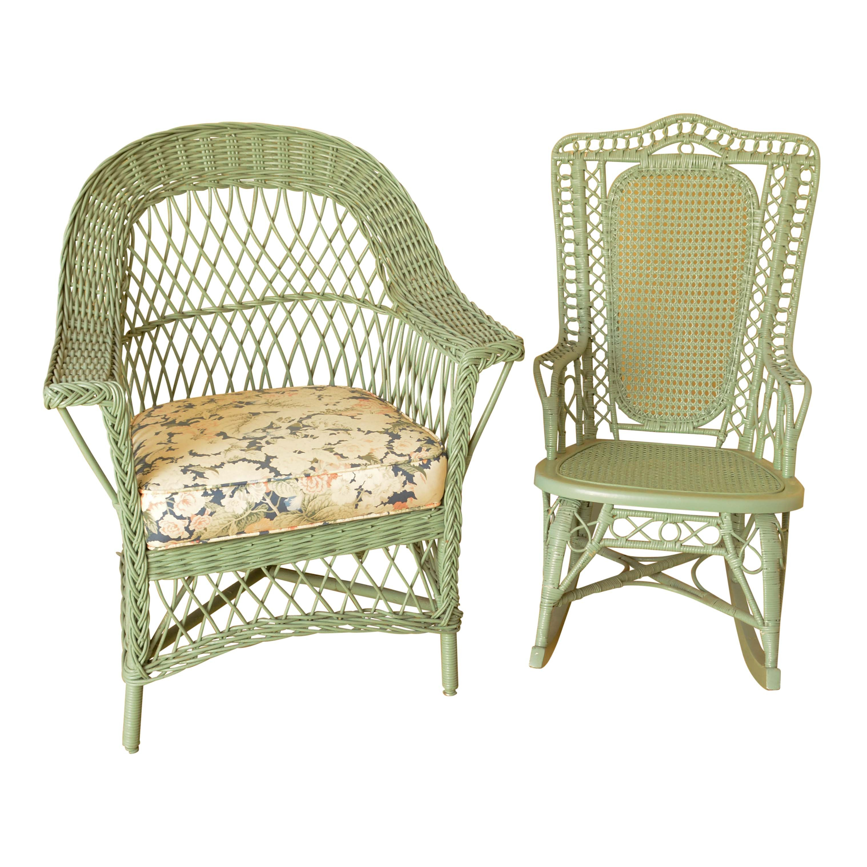Green Painted Wicker Rocking Chair and Armchair