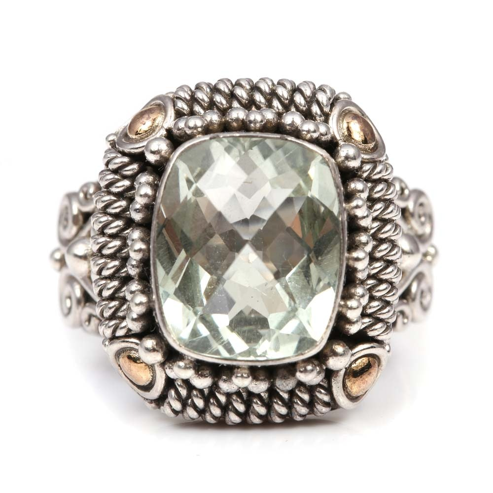 Sterling Silver 5.35 Green Quartz Ring with 18K Yellow Gold Accents