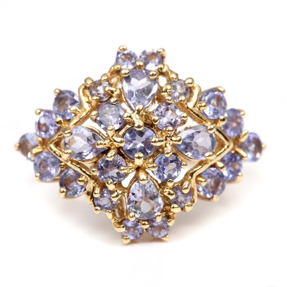 14K Yellow Gold 2.30 CTW Tanzanite Cluster Ring