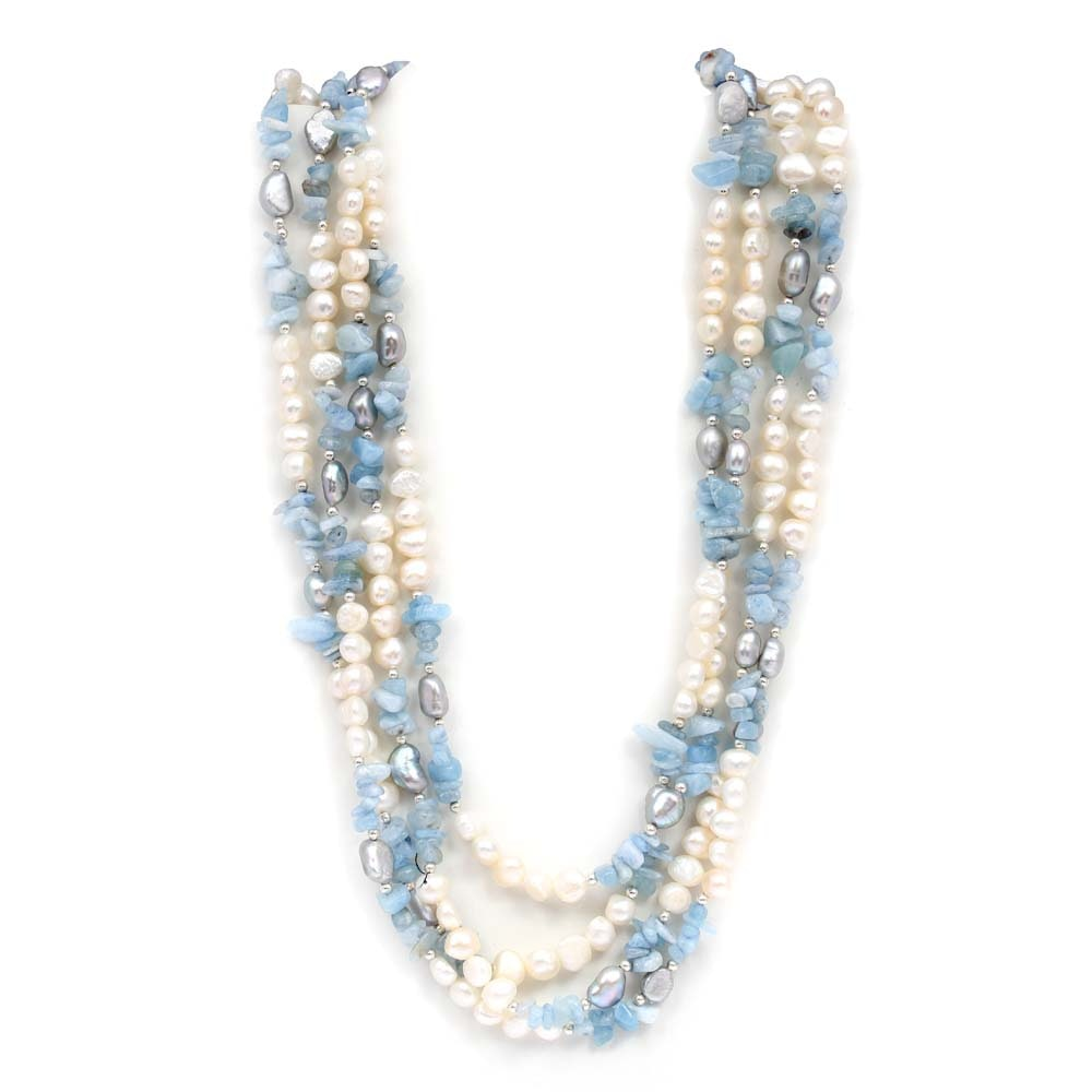 Aquamarine and Freshwater Pearl Bead Strand Necklace