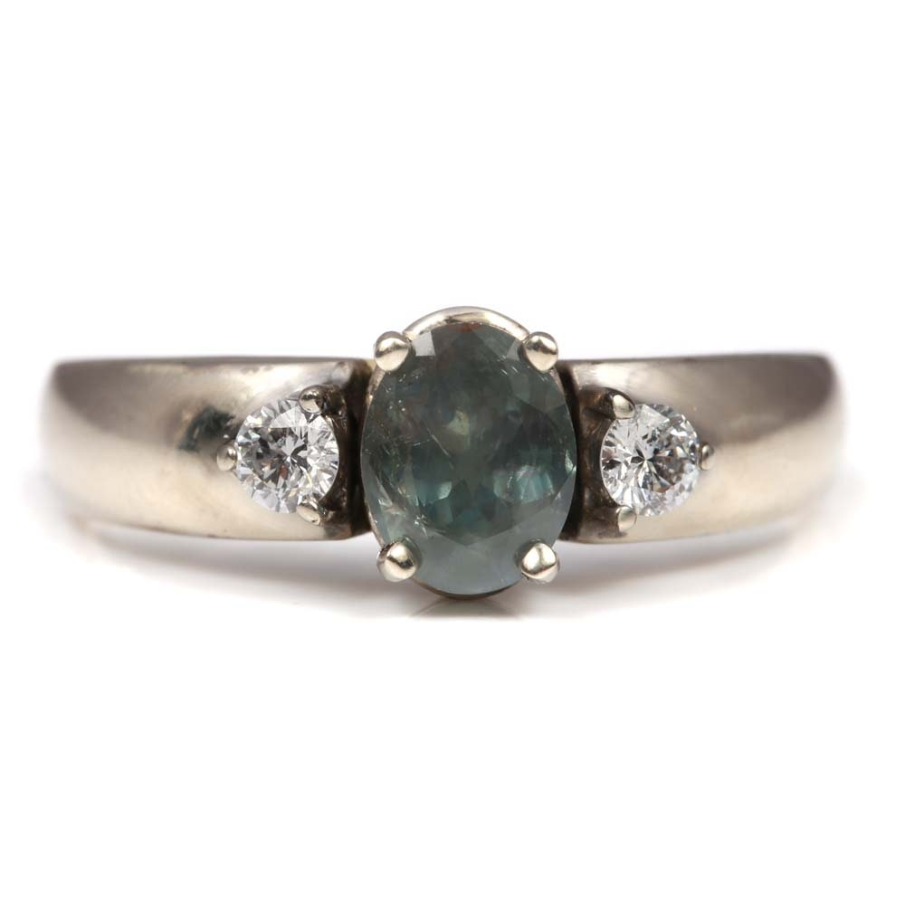 14K White Gold Alexandrite and Diamond Ring with GIA Report
