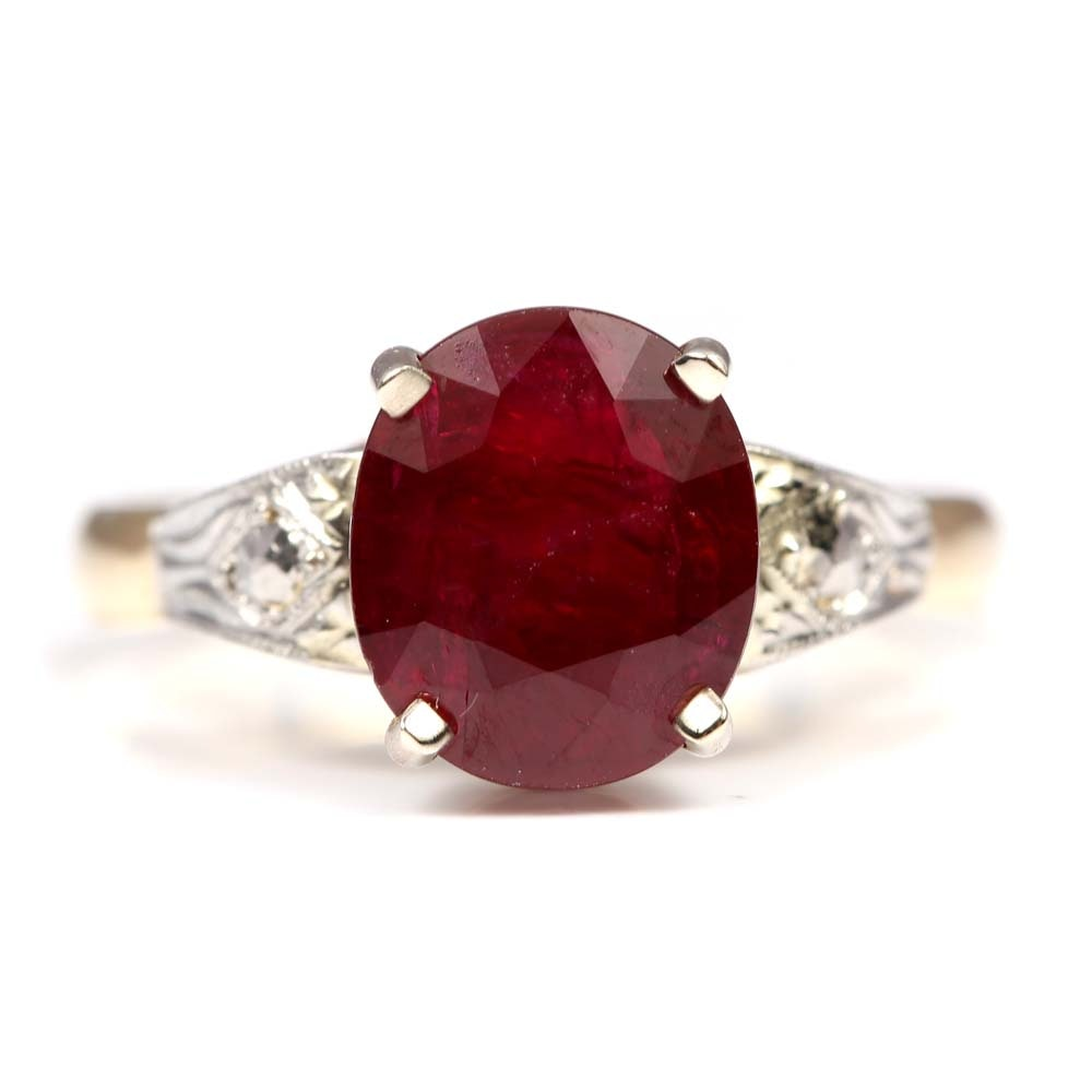 18K Yellow Gold 2.26 CT Ruby Ring with GIA Report