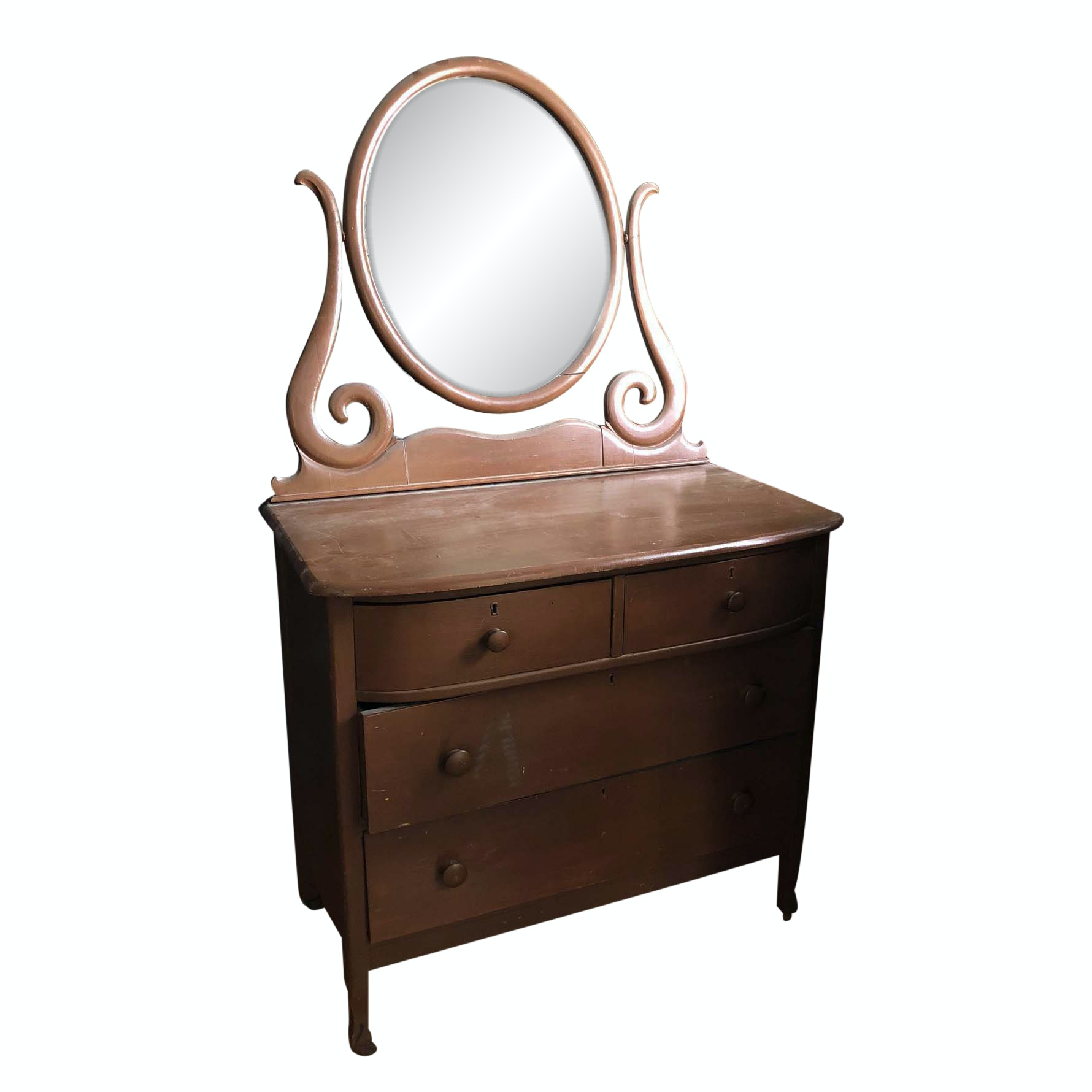 Vintage Painted Chest of Drawers and Mirror