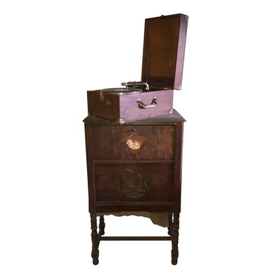 Antique Radio Cabinet and Victor VV-50 Portable Phonograph - Online Furniture Auctions Vintage Furniture Auction Antique