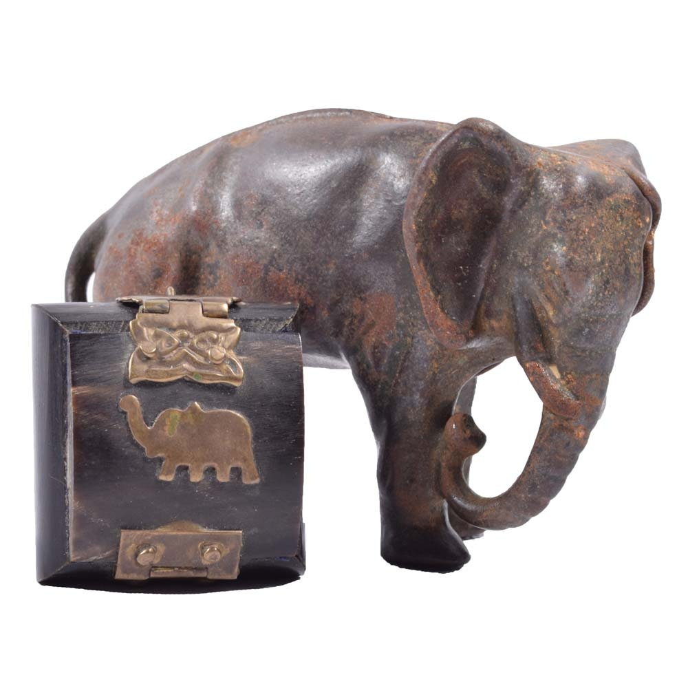 Vintage Cast Metal Elephant Coin Bank and Miniature Box