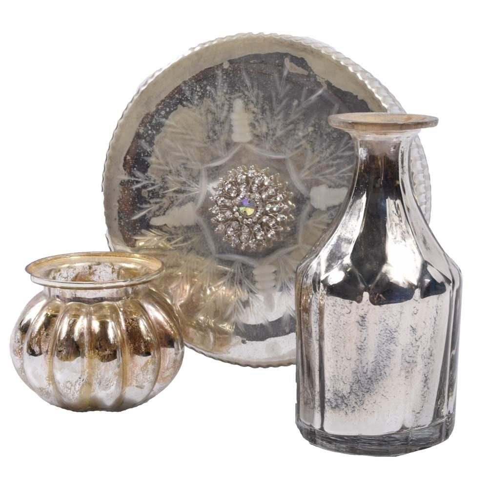 Decorative Mercury Glass Vanity Decor