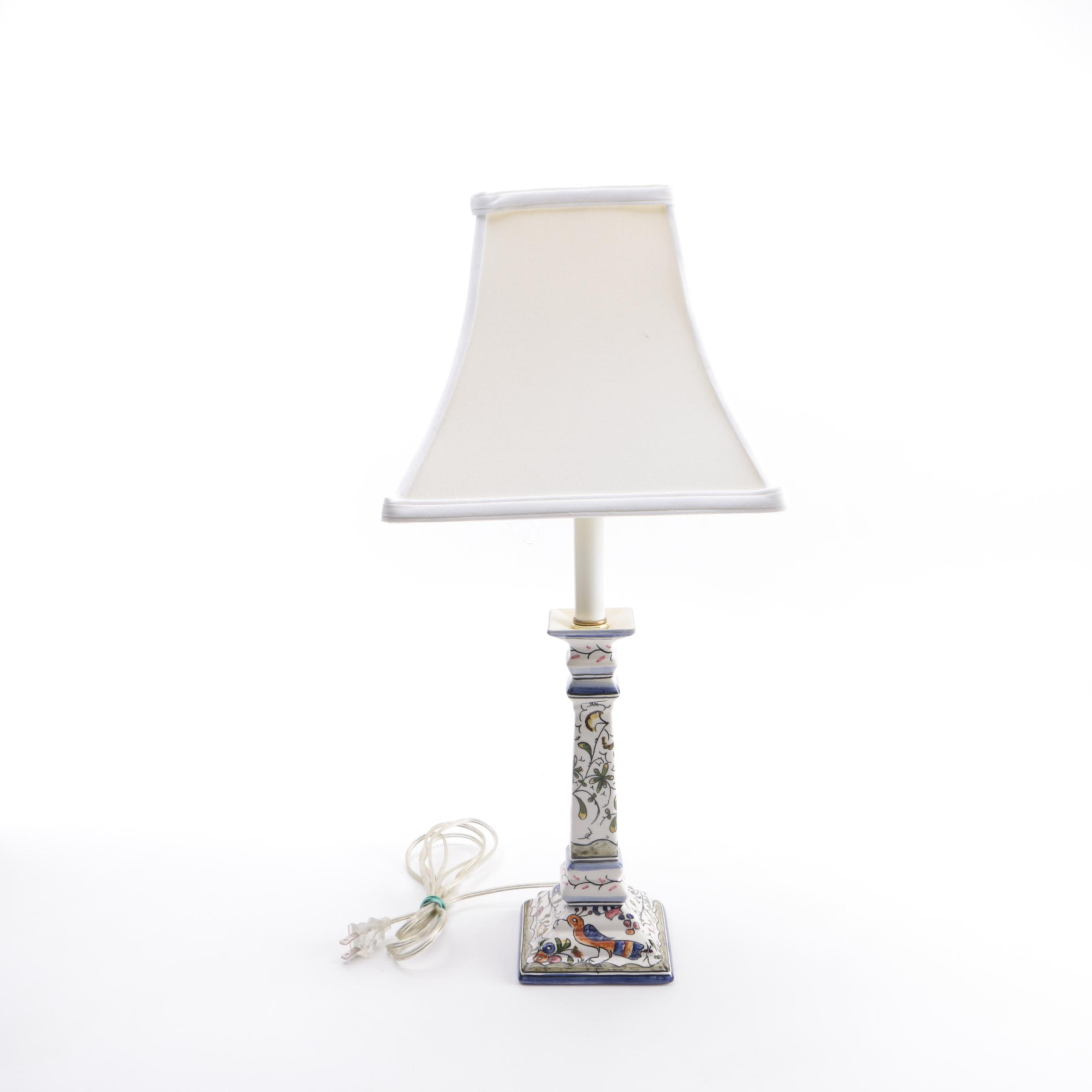 Hand-Painted Portuguese Ceramic Table Lamp
