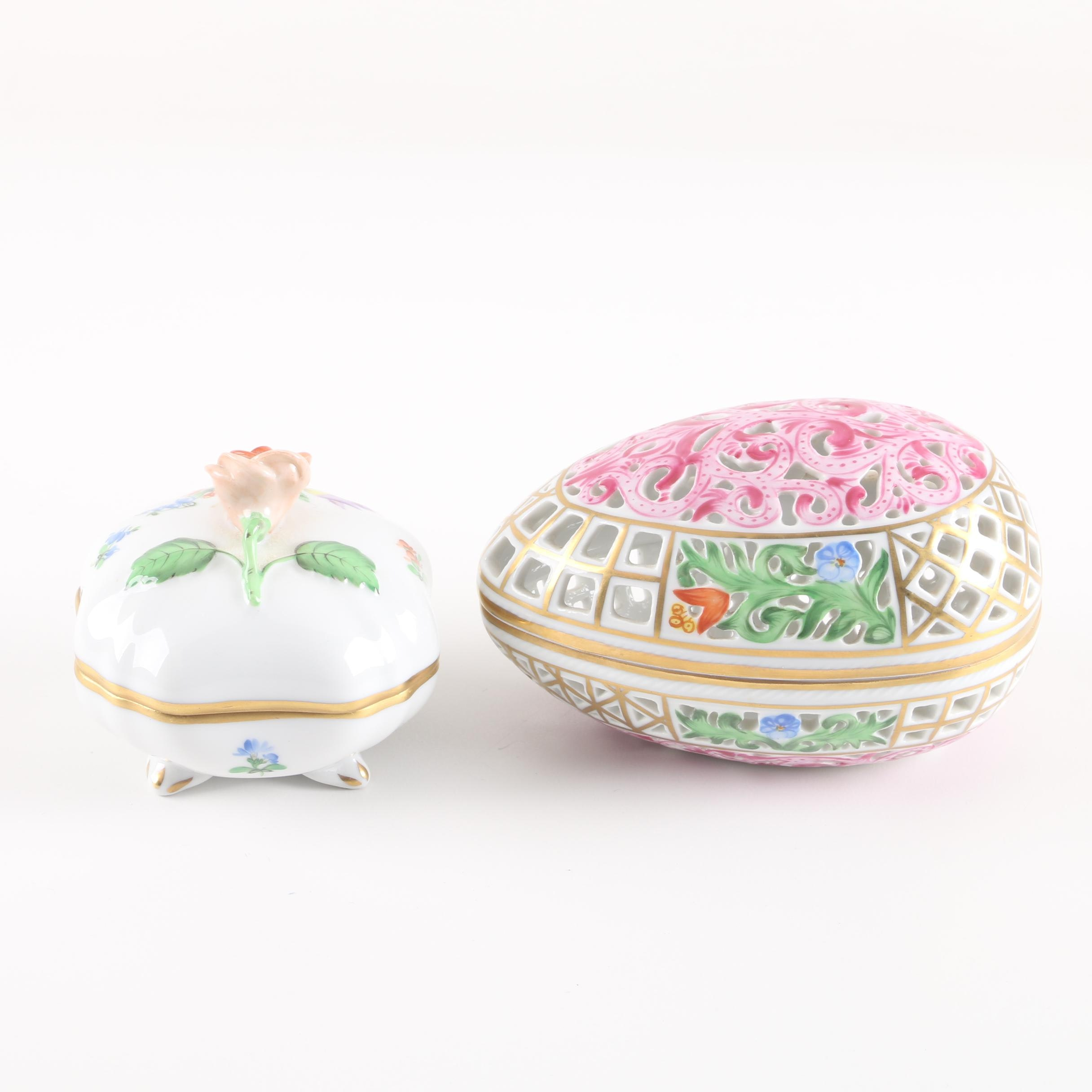Herend Hungary Porcelain Trinket Boxes