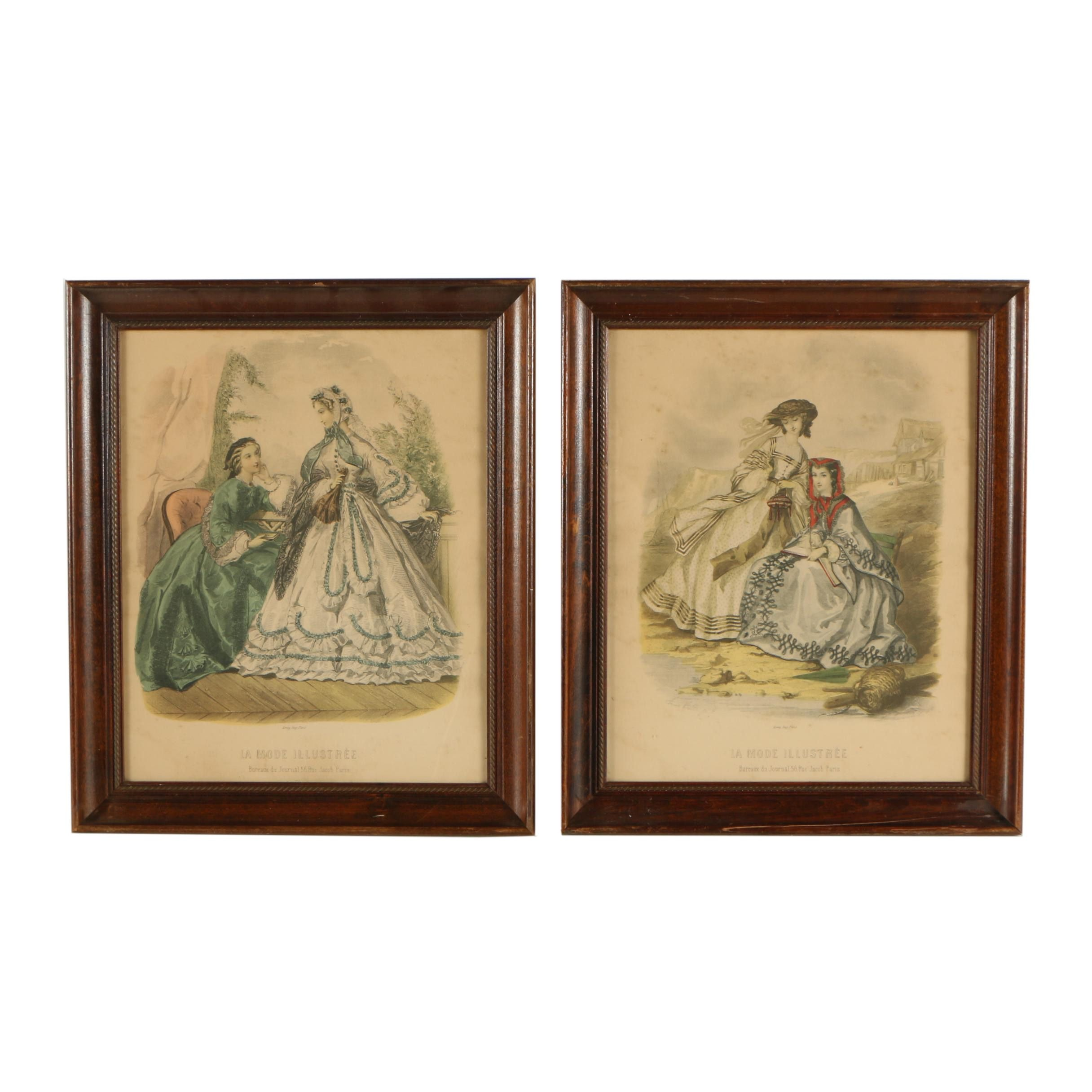 Reproduction French 19th Century Halftone Fashion Prints