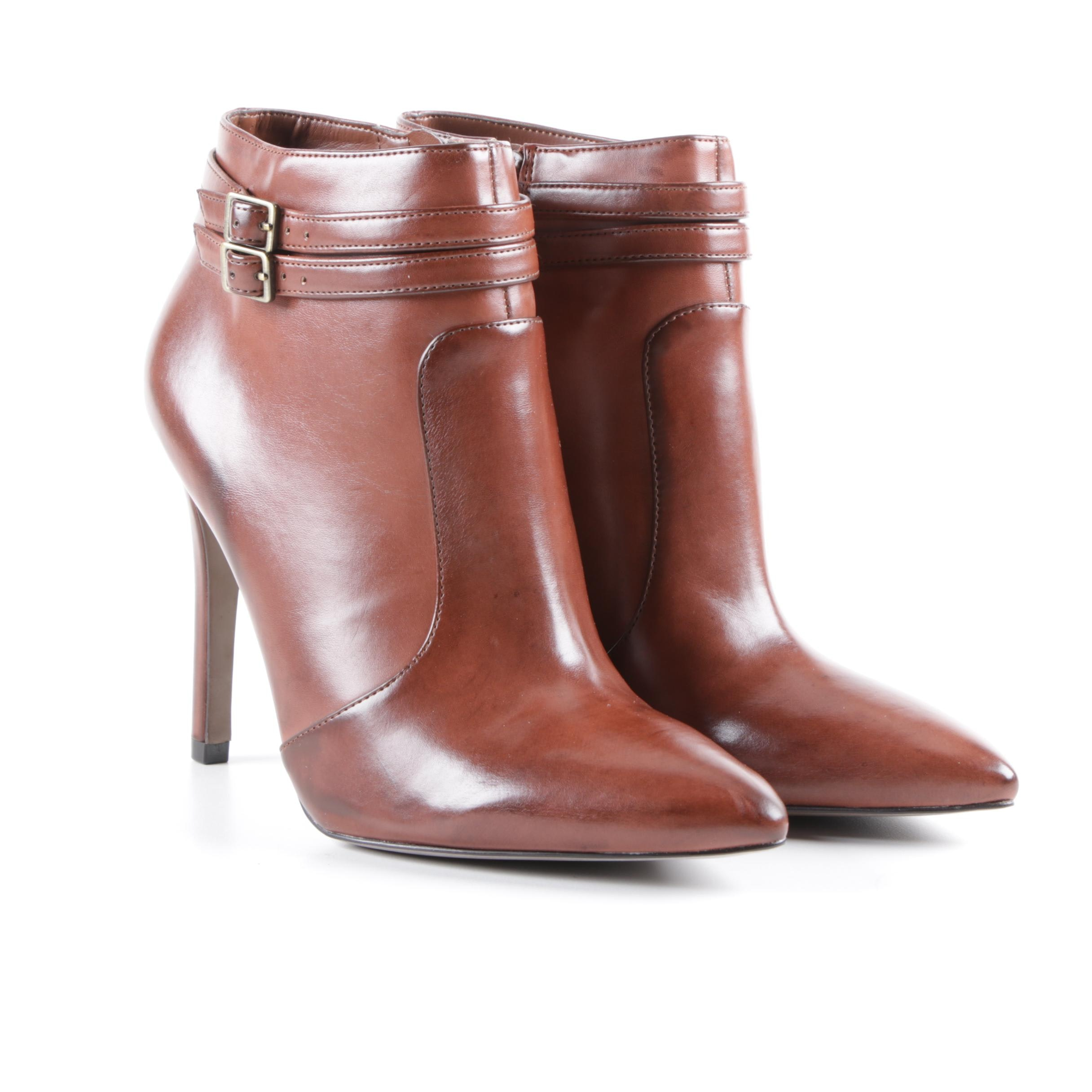 Ann Taylor Loft Marin Brown Faux Leather Ankle Booties