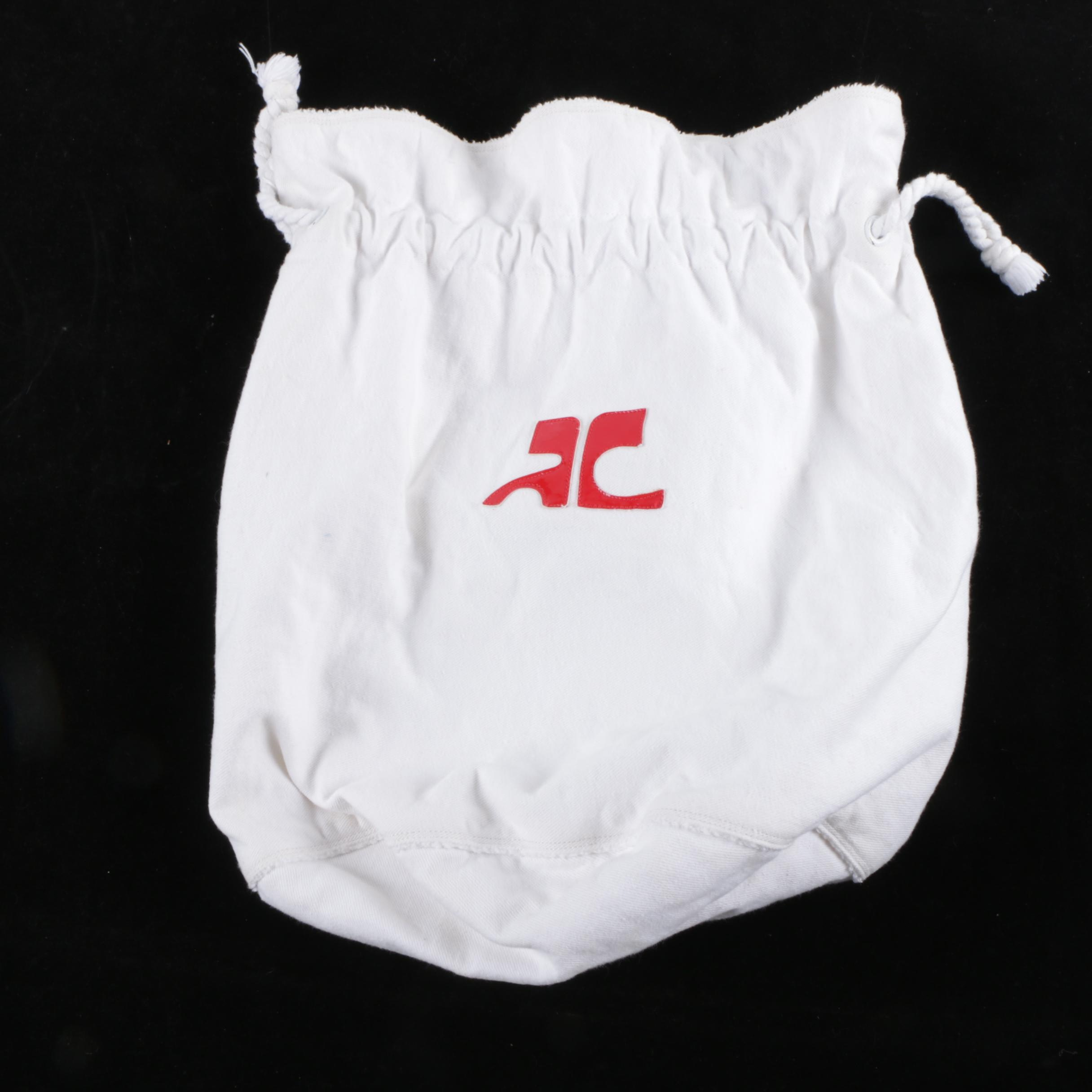 1980s Courreges White Canvas and Terrycloth Drawstring Bag