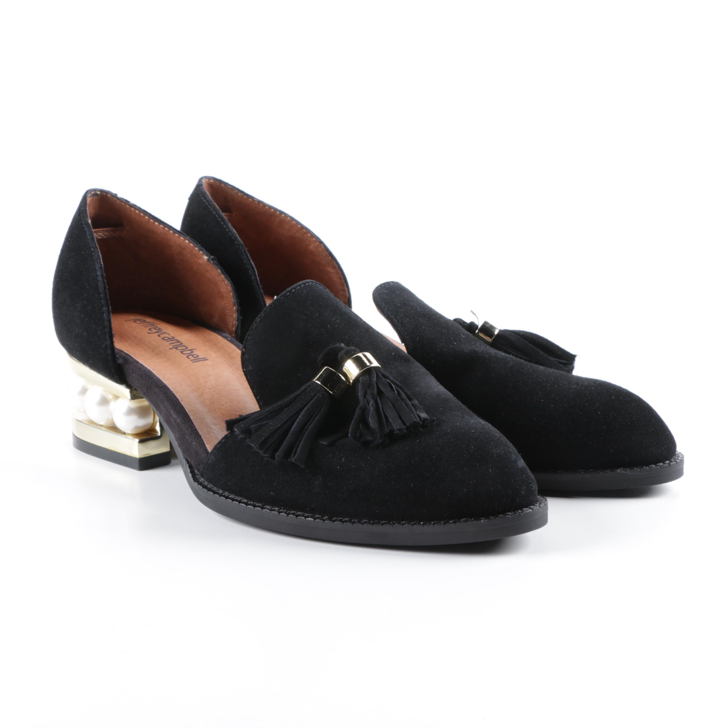 Jefferey Campbell Civil Pearl Heeled and Black Suede Tassel Loafers