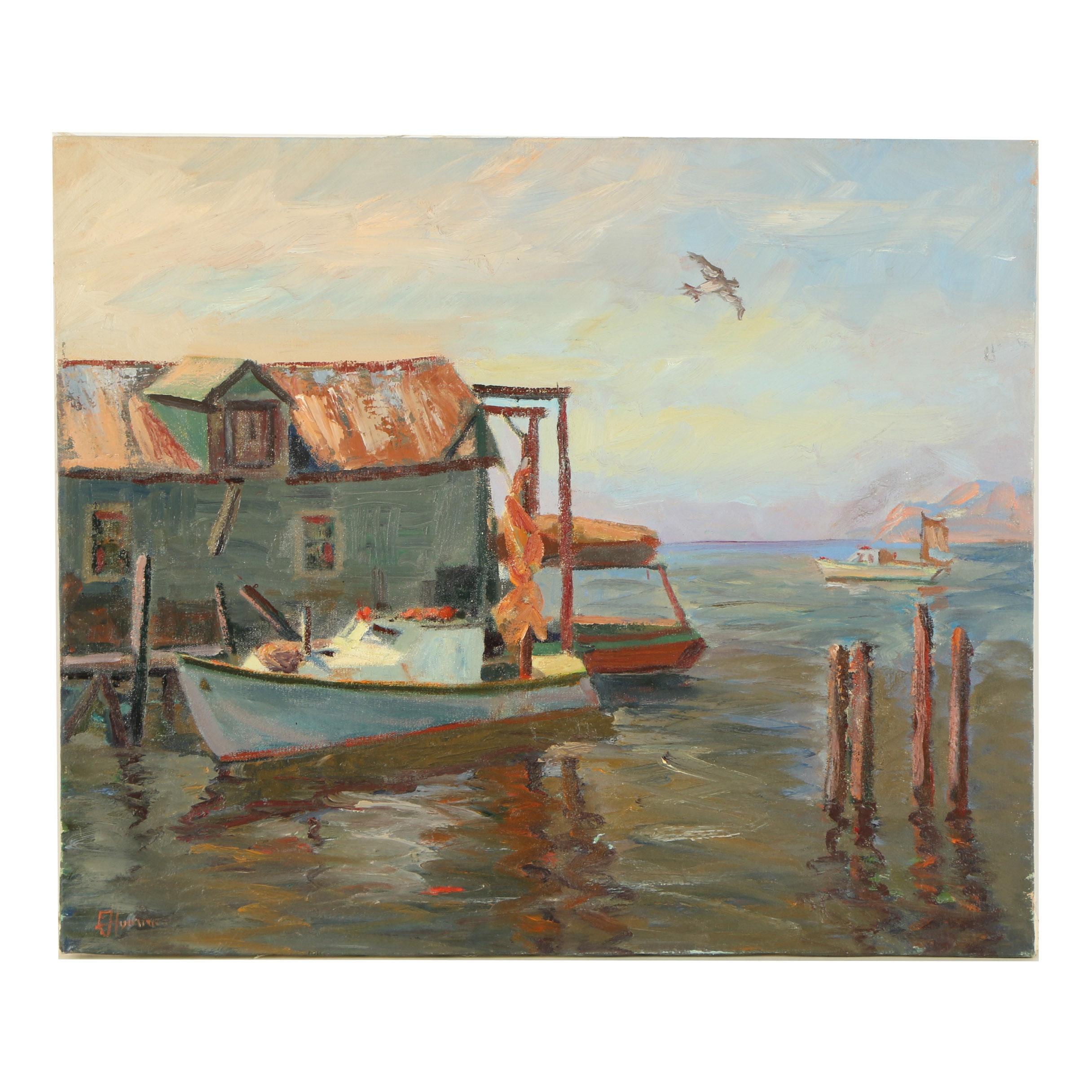 "Edward Hummer Oil Painting ""Lobster Boat"""