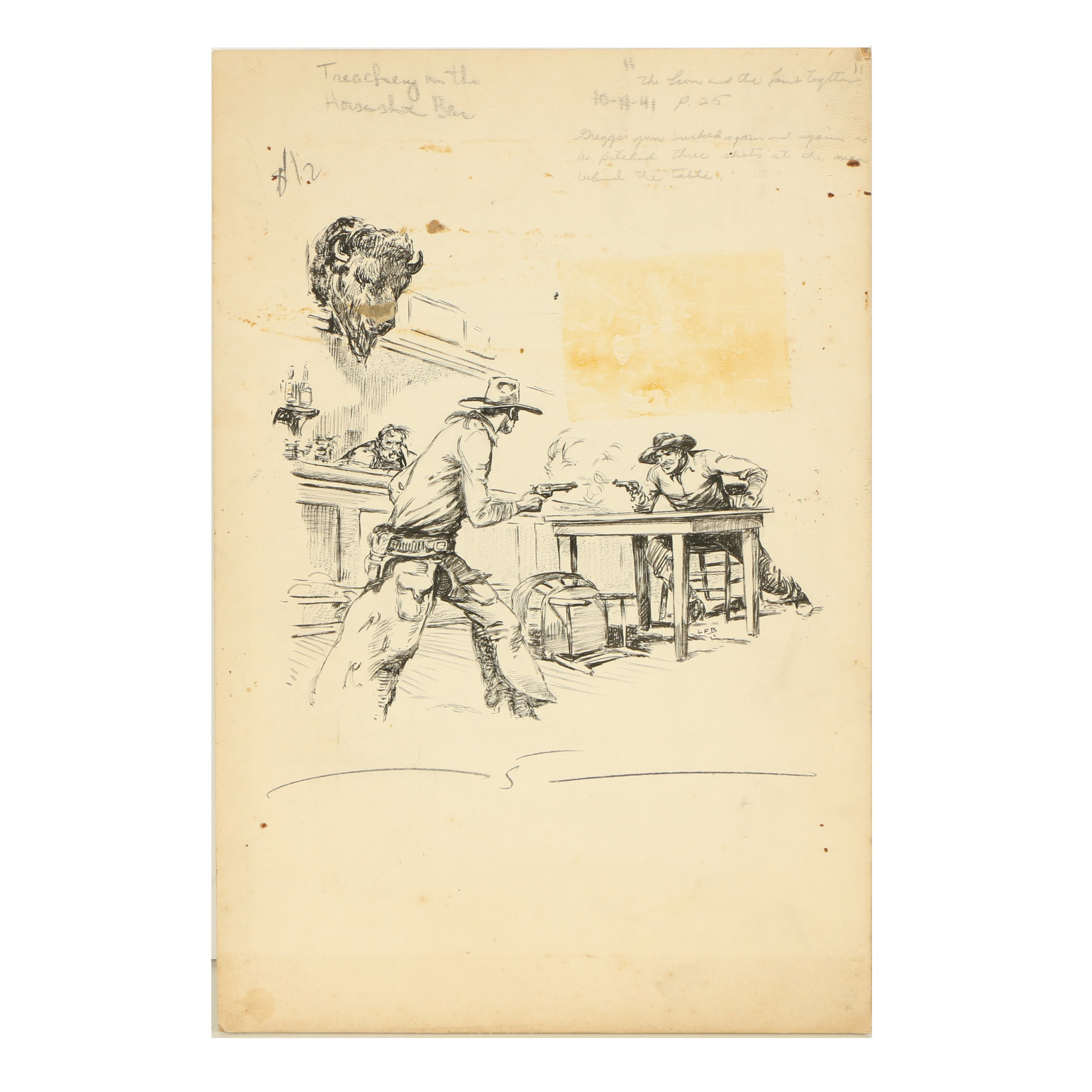 "Lorence F. Bjorklund Ink Illustration ""Treachery at the Horseshoe Bar"""
