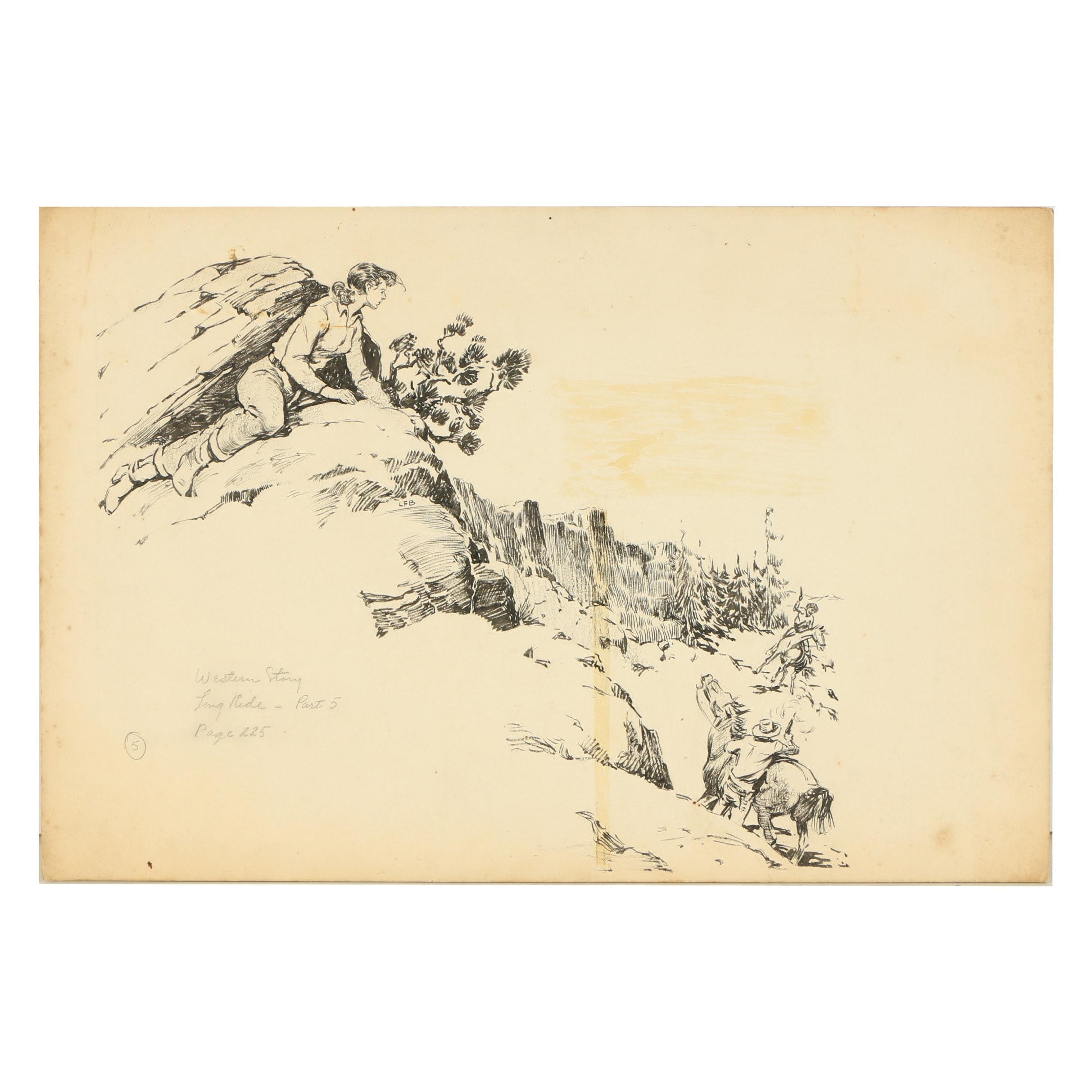 "Lorence F. Bjorklund Ink Illustration ""Long Ride - Part 5"""