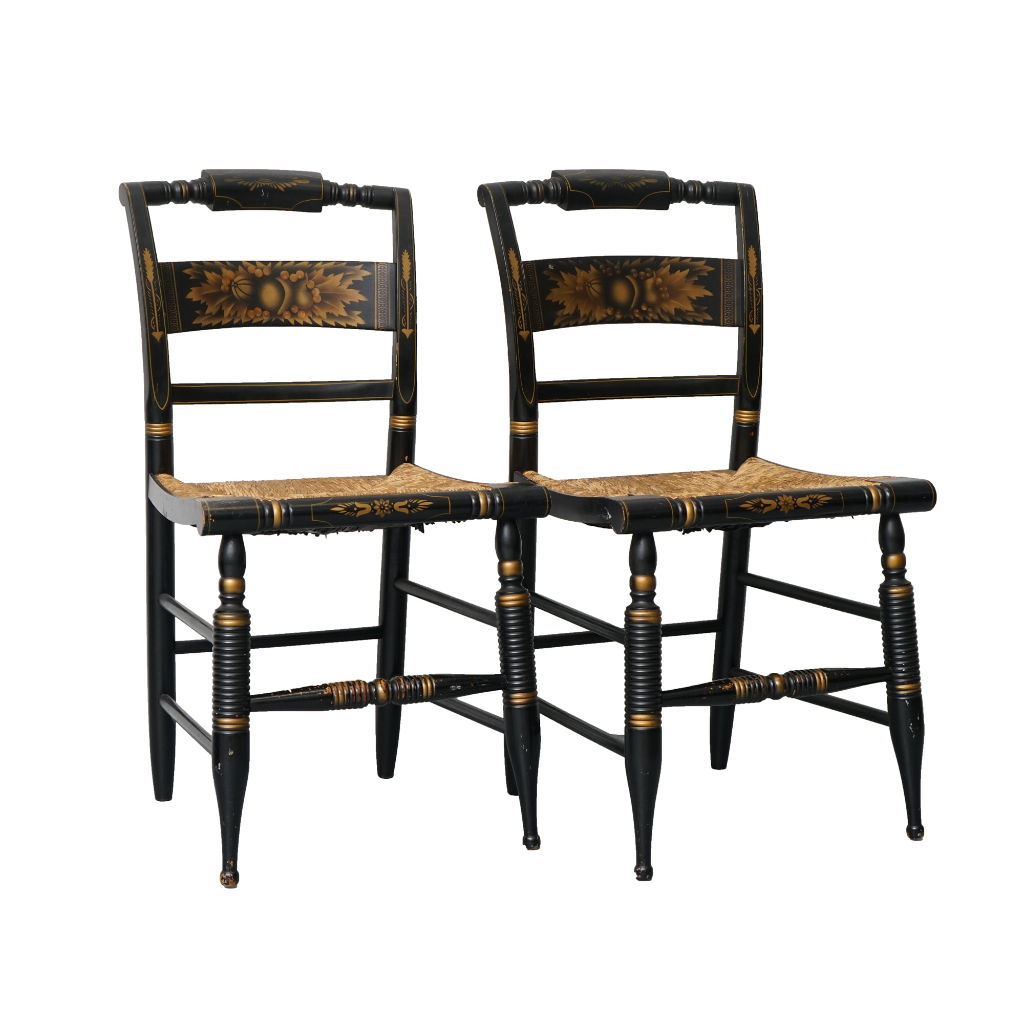 Vintage Painted Side Chairs with Rush Seats by L. Hitchcock