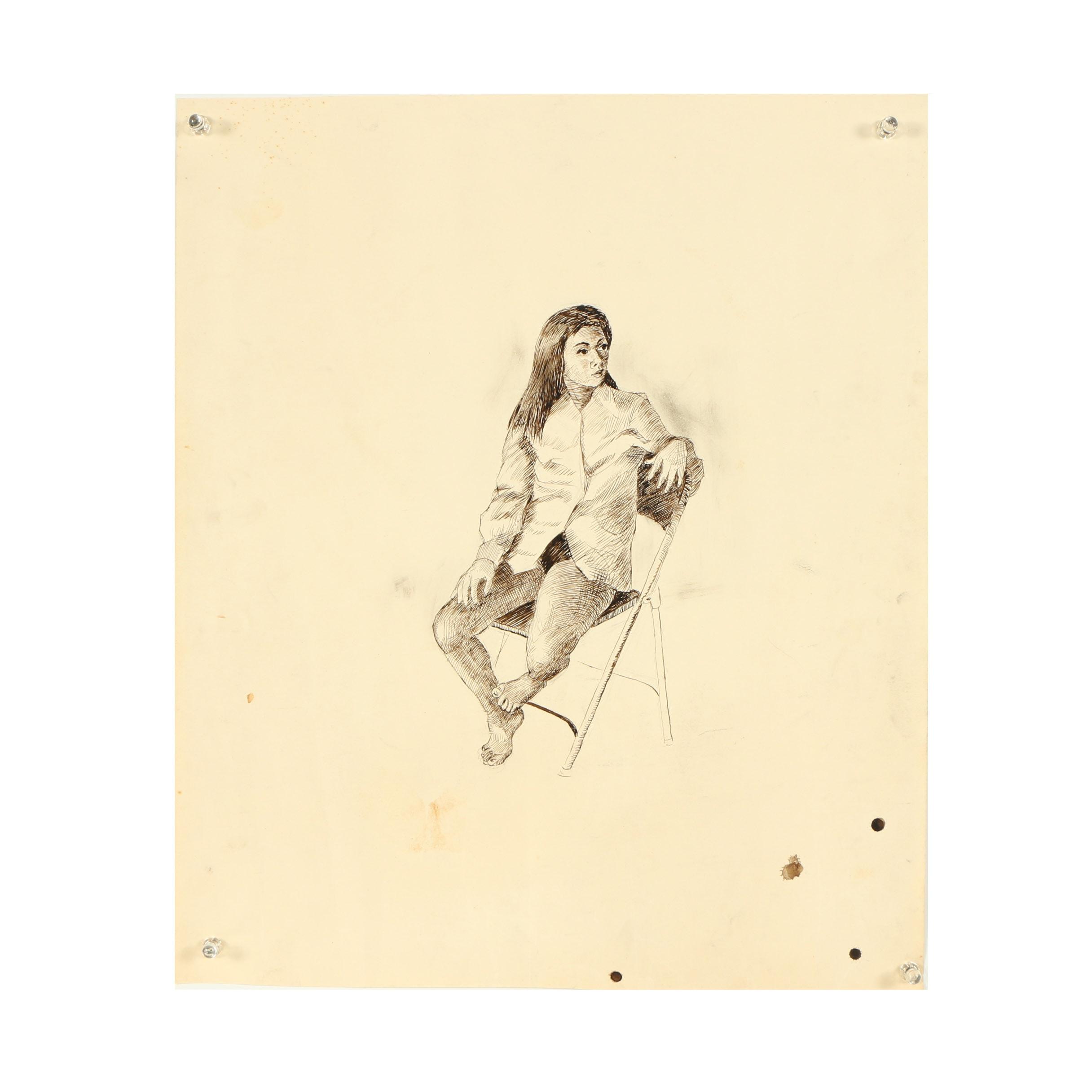"Ricardo Morin Ink Drawing ""Andreina"""