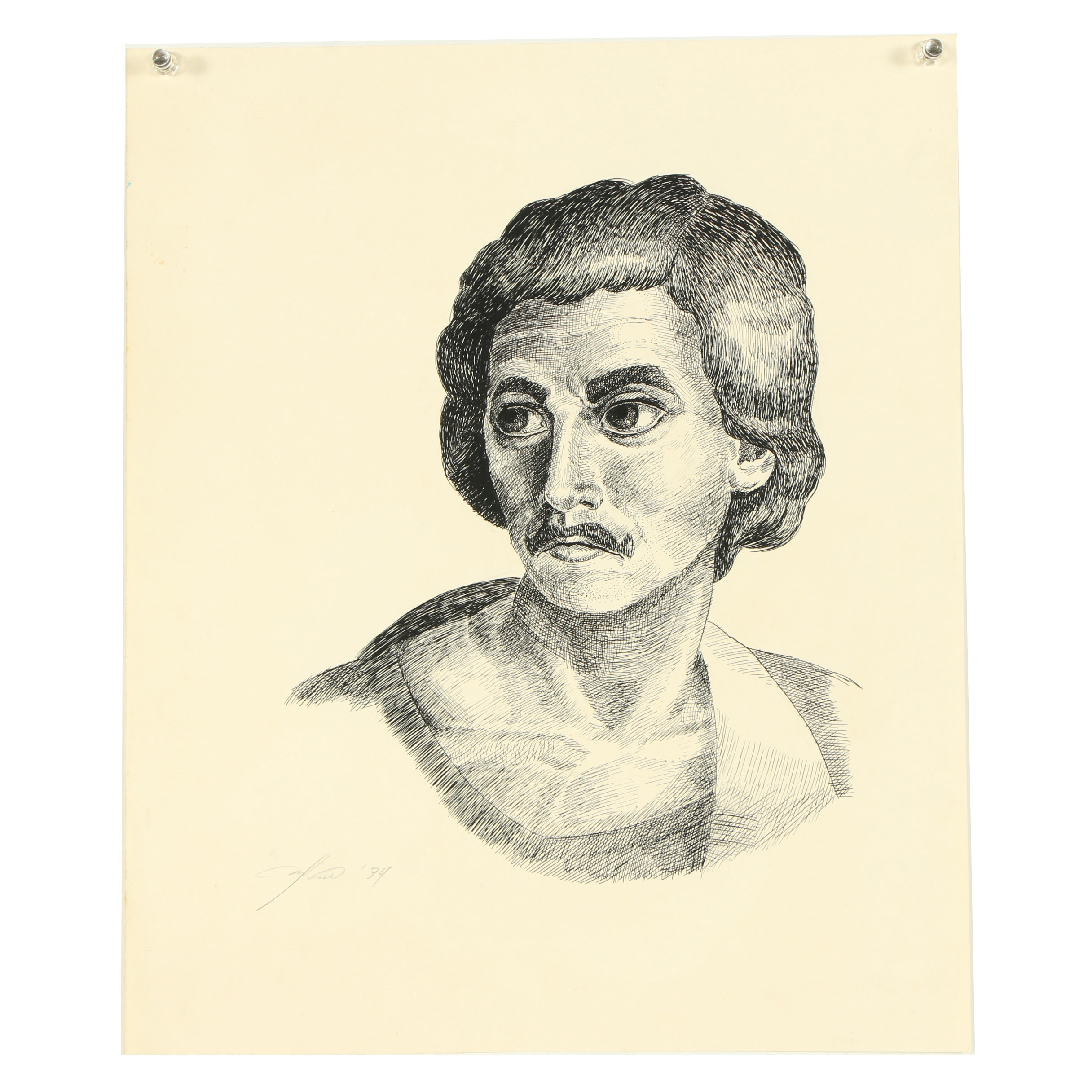 "Ricardo Morin Ink Drawing ""Untitled II"""