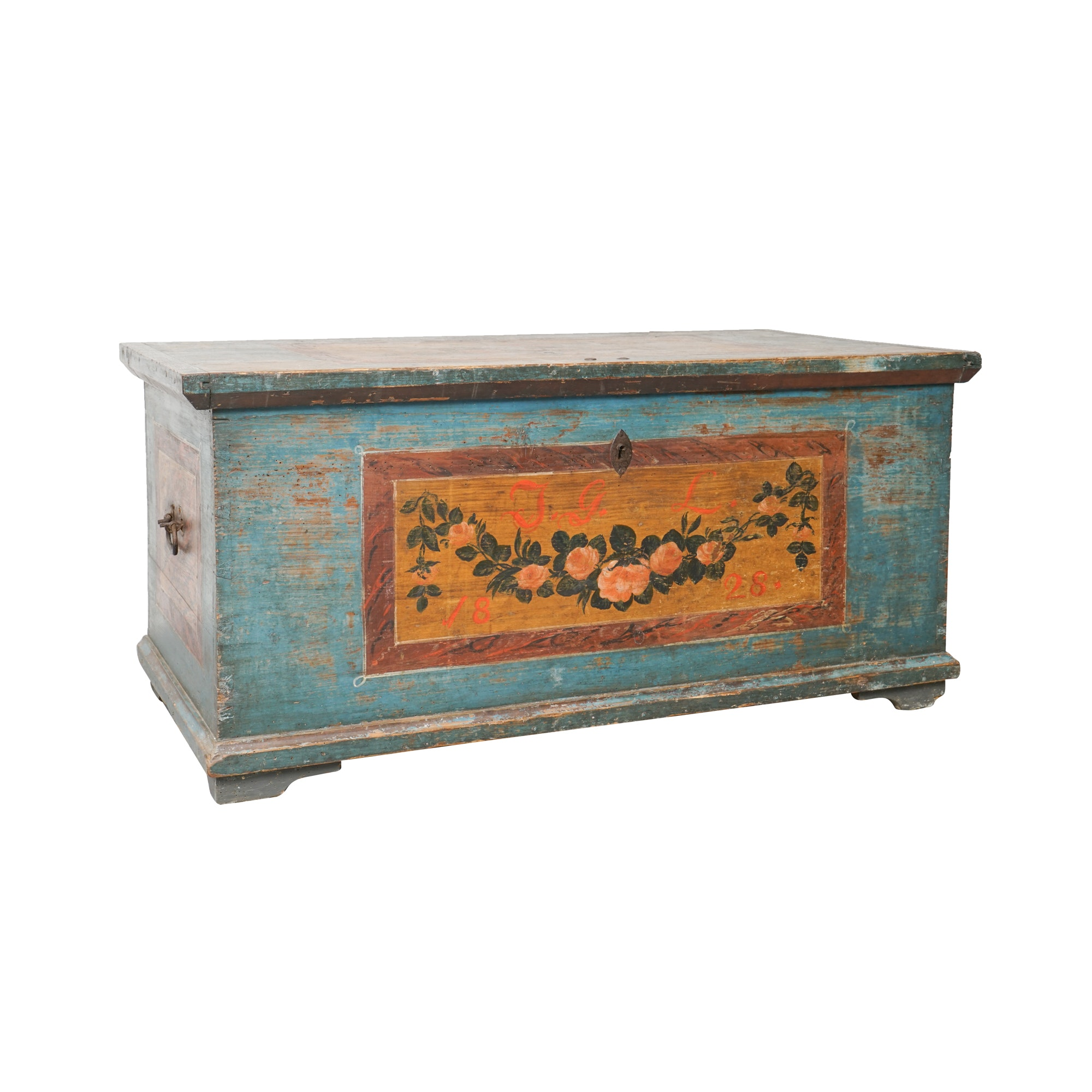 Early 19th Century Painted Pine Dowry Chest