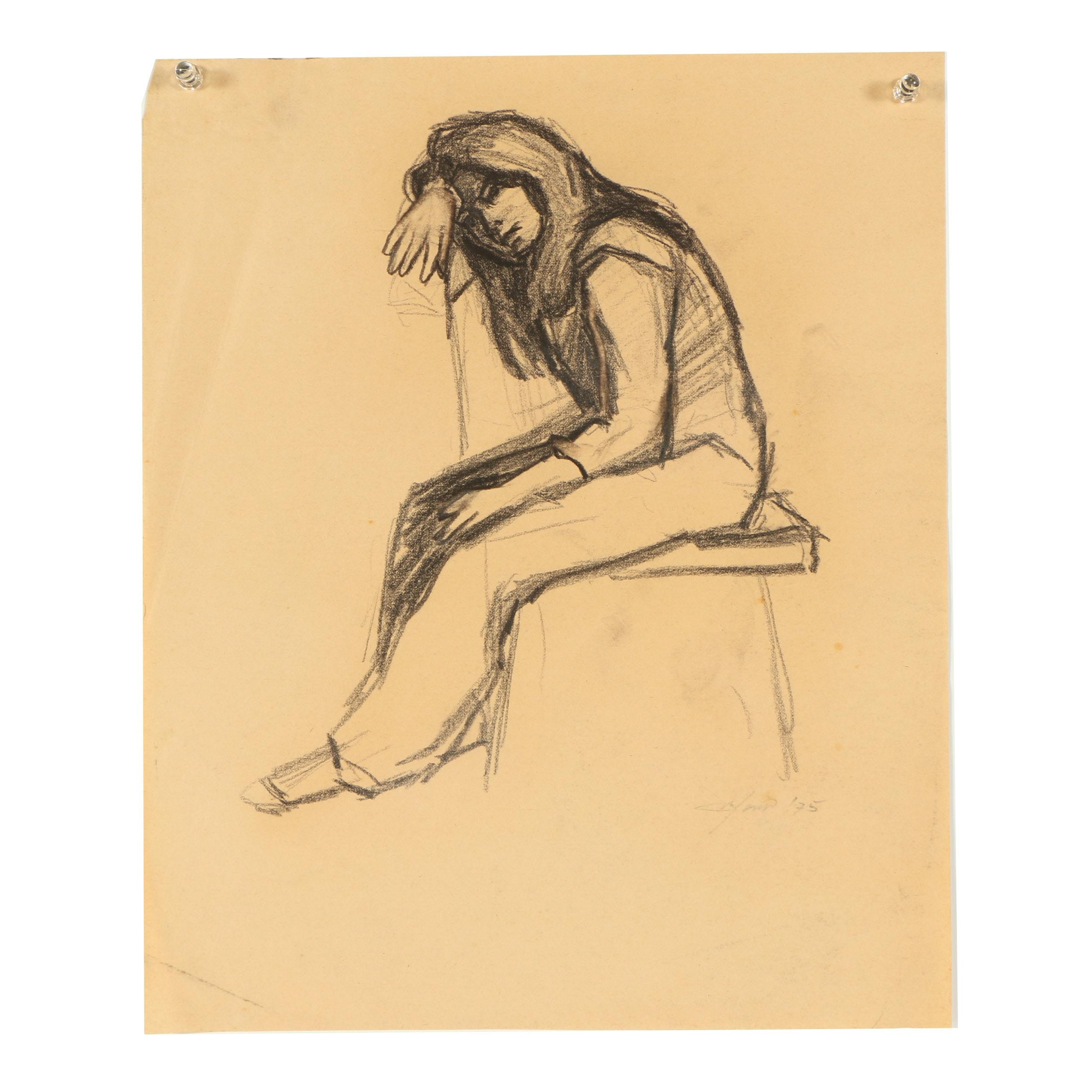 "Ricardo Morin Charcoal Drawing ""Sitting II"""