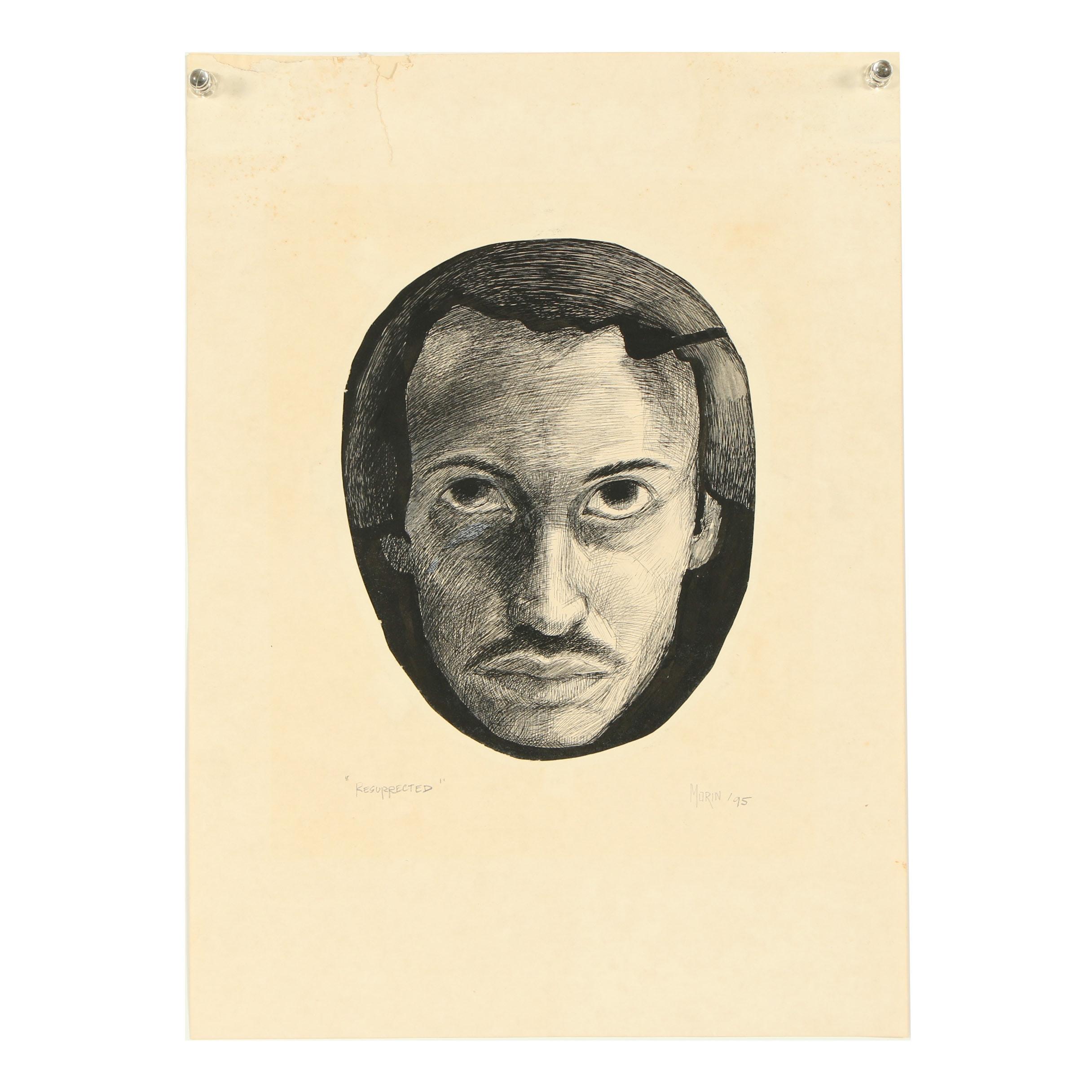 "Ricardo Morin Ink Drawing ""Resurrected"""