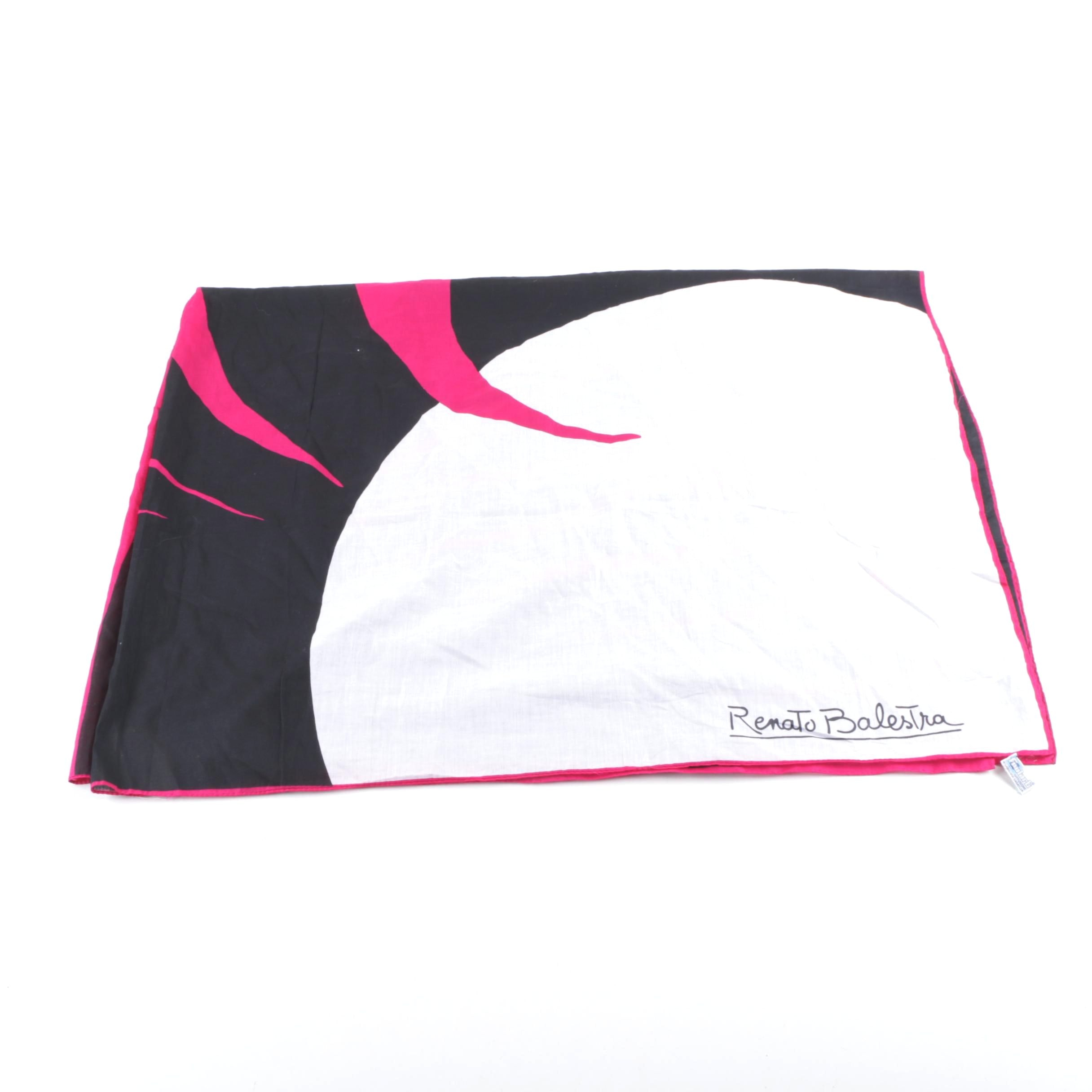 Vintage Renato Balestra Large Pink, Black and White Geometric Print Cotton Scarf